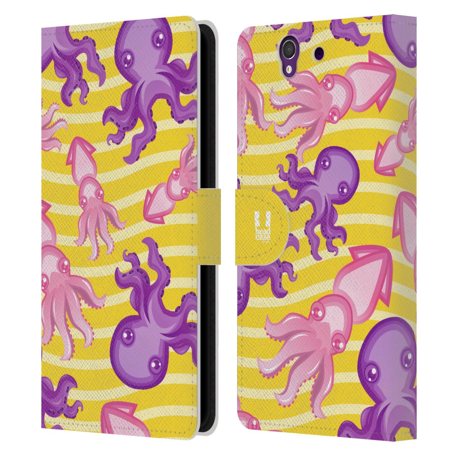 HEAD CASE Flipové pouzdro pro mobil SONY XPERIA Z (C6603) Mořský živočich chobotnice a krakatice žlutá barva