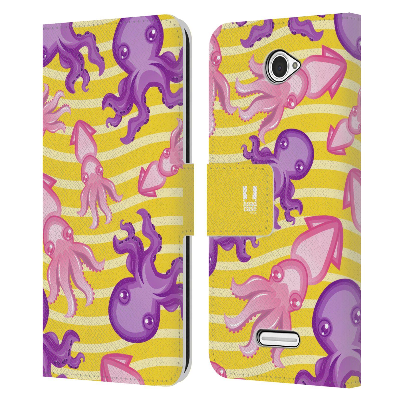 HEAD CASE Flipové pouzdro pro mobil SONY XPERIA E4 Mořský živočich chobotnice a krakatice žlutá barva