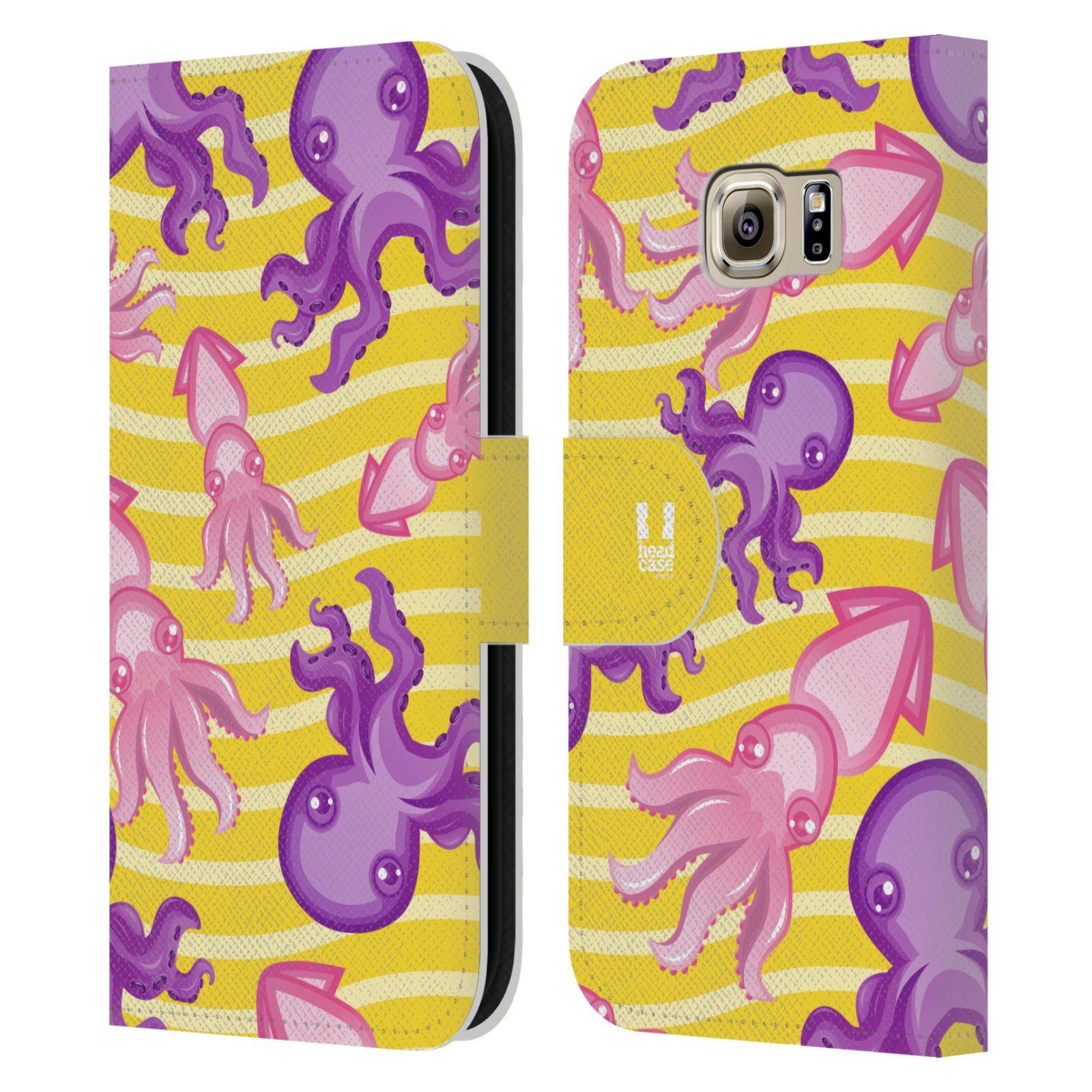 HEAD CASE Flipové pouzdro pro mobil Samsung Galaxy S6 (G9200) Mořský živočich chobotnice a krakatice žlutá barva