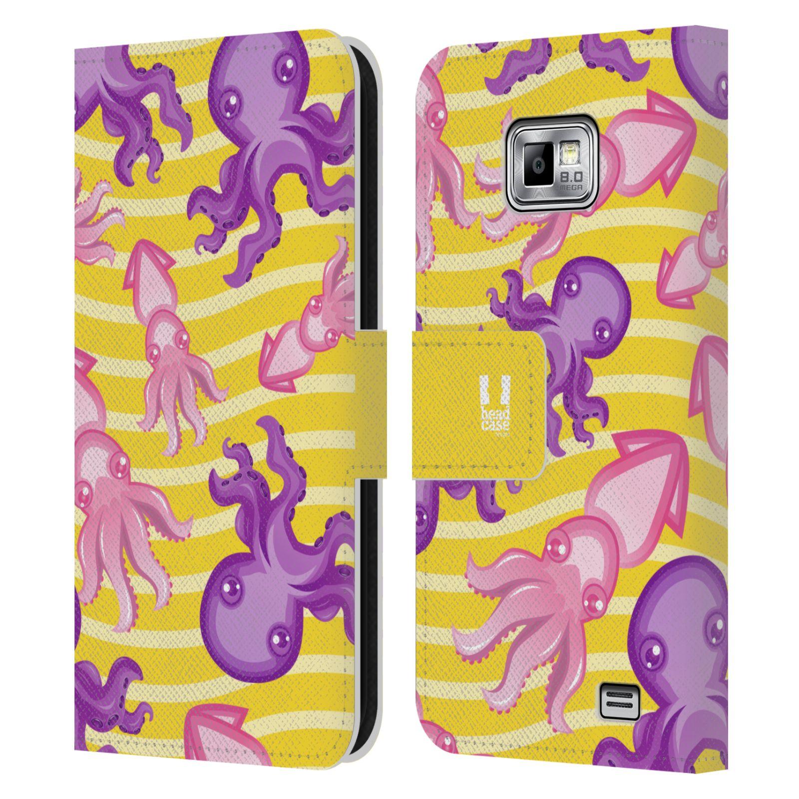 HEAD CASE Flipové pouzdro pro mobil Samsung Galaxy S2 i9100 Mořský živočich chobotnice a krakatice žlutá barva