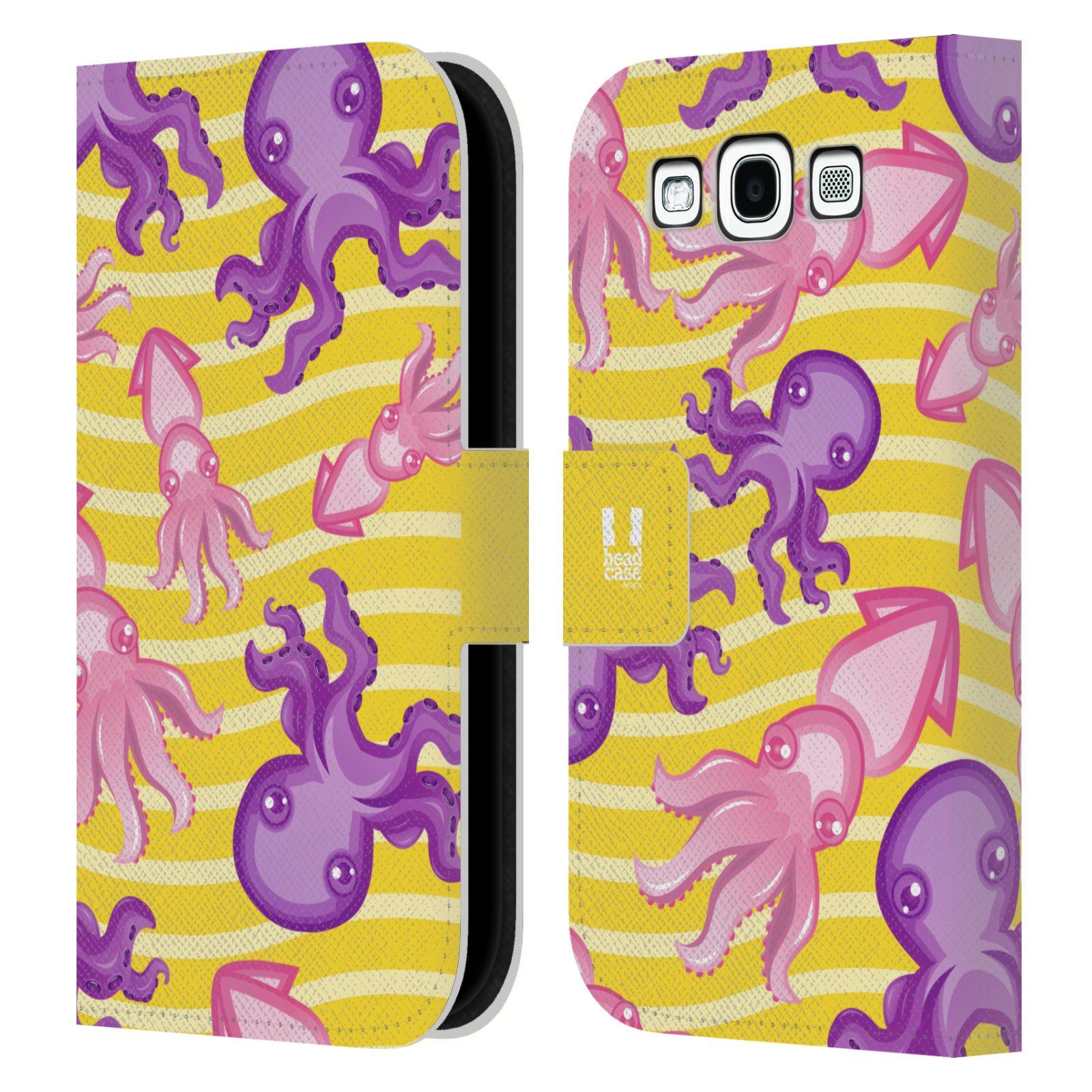 HEAD CASE Flipové pouzdro pro mobil Samsung Galaxy S3 Mořský živočich chobotnice a krakatice žlutá barva