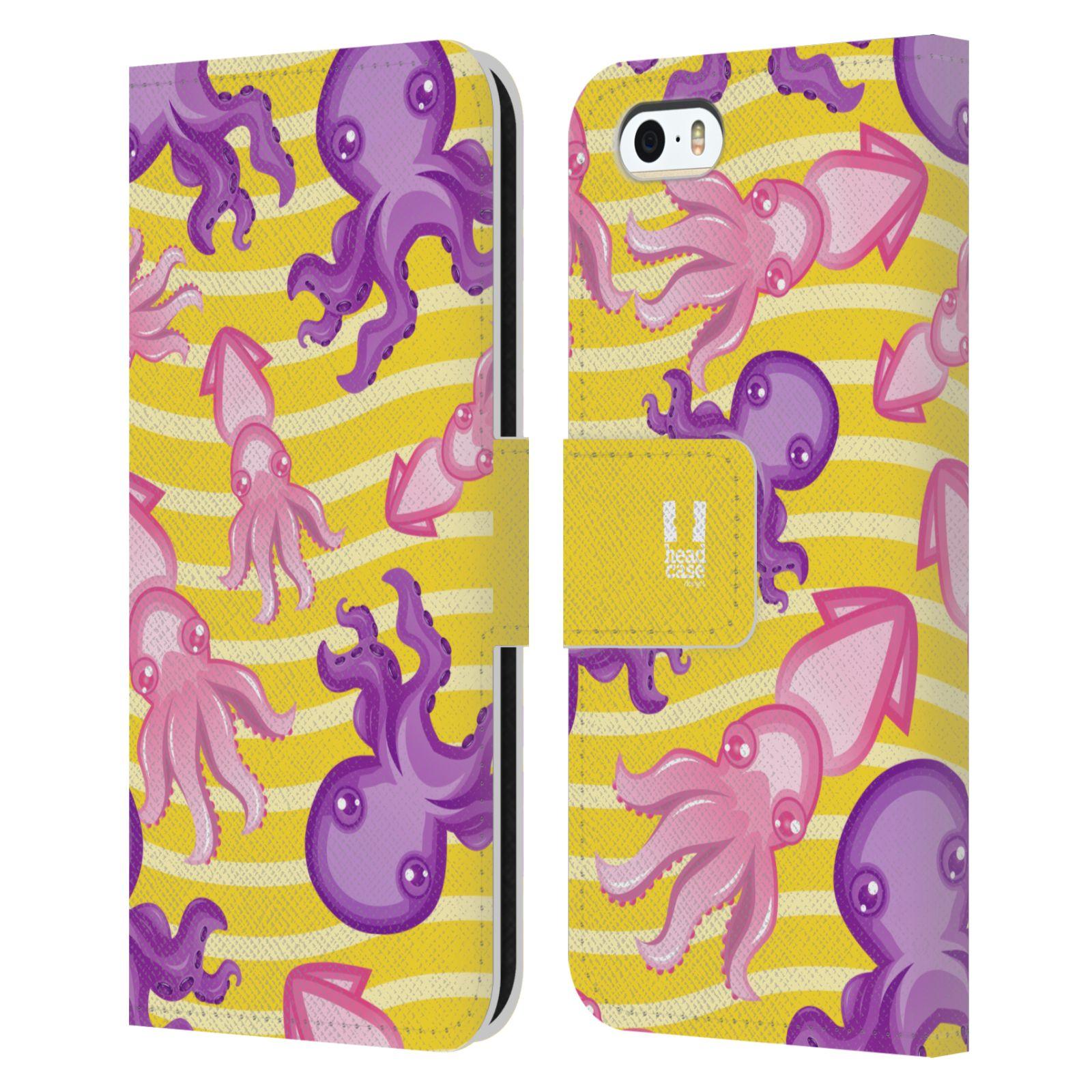HEAD CASE Flipové pouzdro pro mobil Apple Iphone 5/5s Mořský živočich chobotnice a krakatice žlutá barva