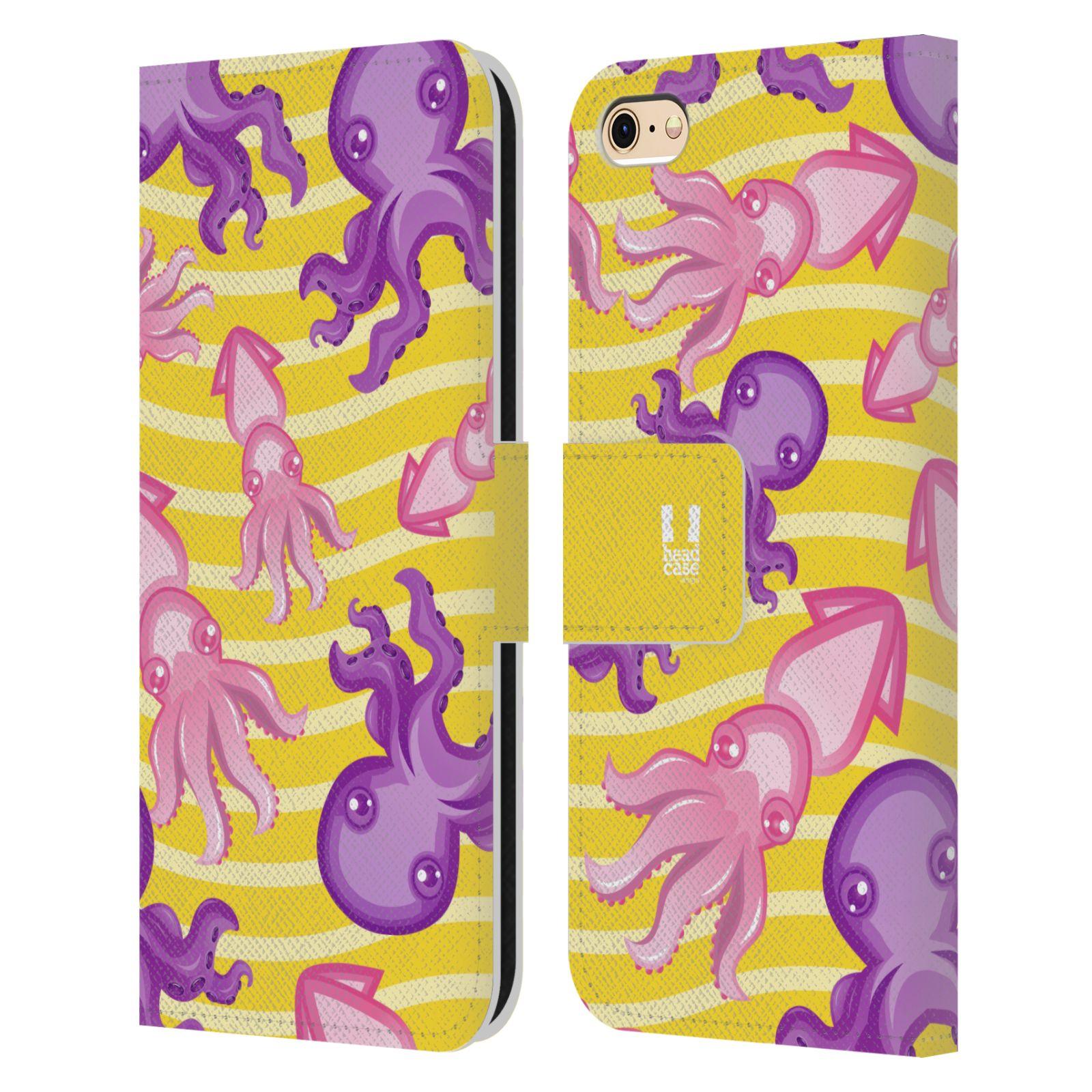 HEAD CASE Flipové pouzdro pro mobil Apple Iphone 6/6s Mořský živočich chobotnice a krakatice žlutá barva
