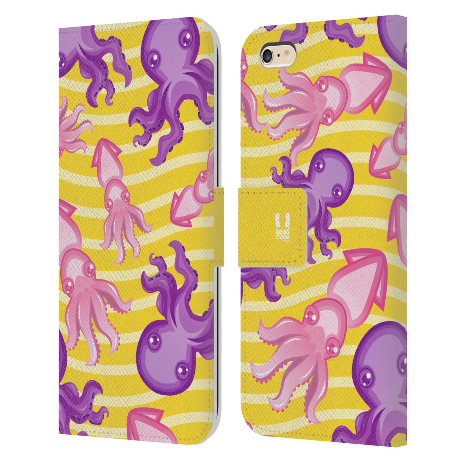 HEAD CASE Flipové pouzdro pro mobil Apple Iphone 6 PLUS / 6S PLUS Mořský živočich chobotnice a krakatice žlutá barva