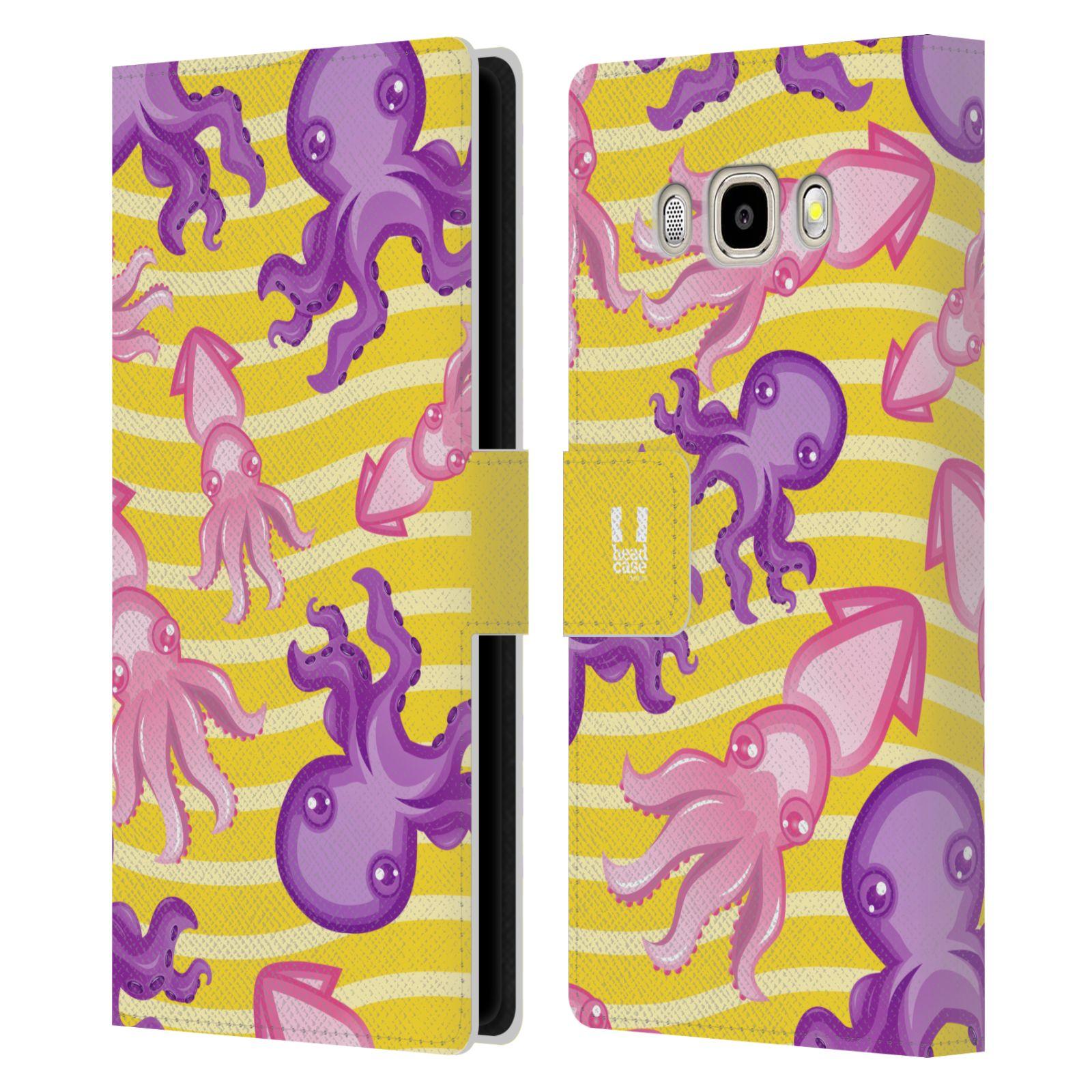 HEAD CASE Flipové pouzdro pro mobil Samsung Galaxy J5 2016 Mořský živočich chobotnice a krakatice žlutá barva