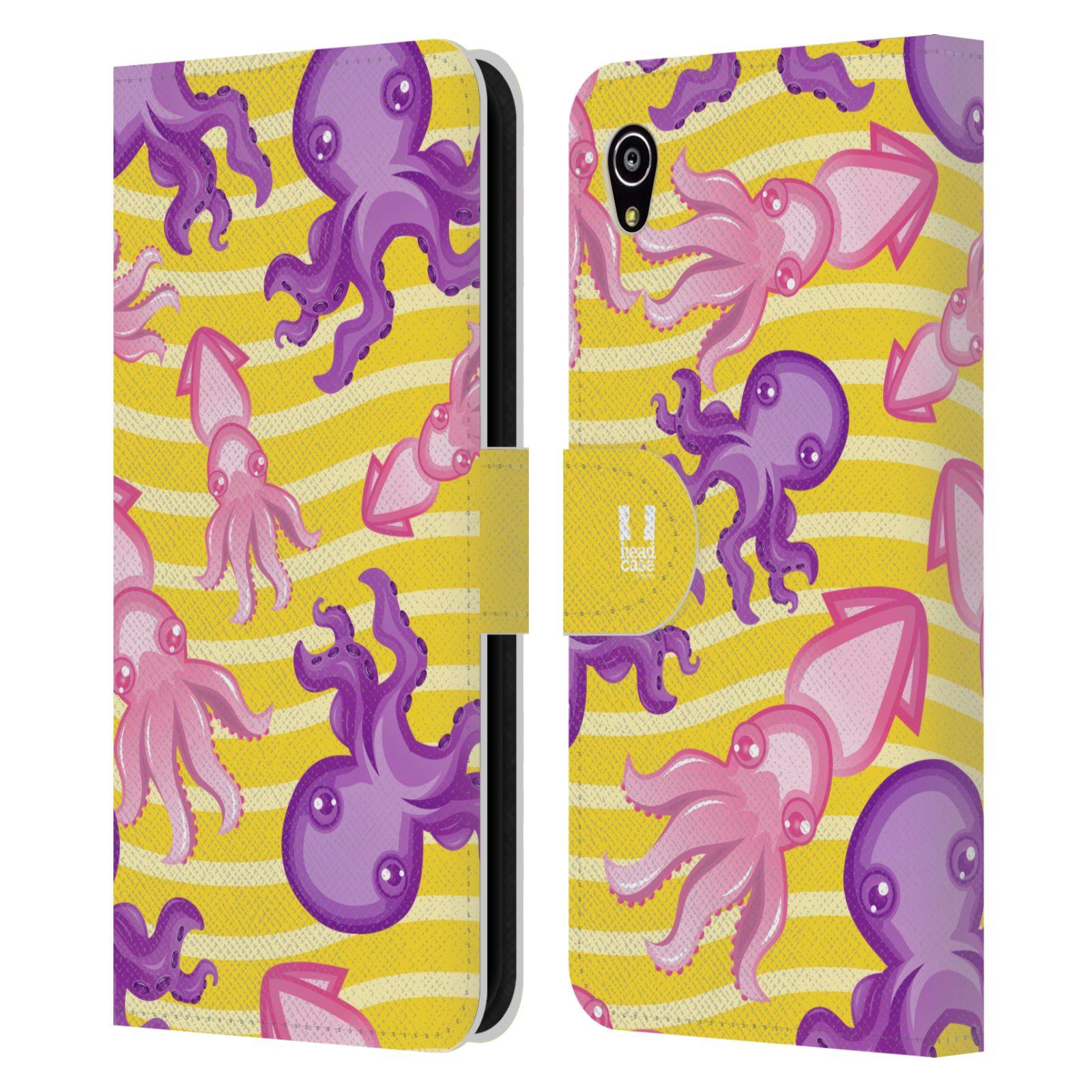 HEAD CASE Flipové pouzdro pro mobil SONY XPERIA M4 AQUA Mořský živočich chobotnice a krakatice žlutá barva