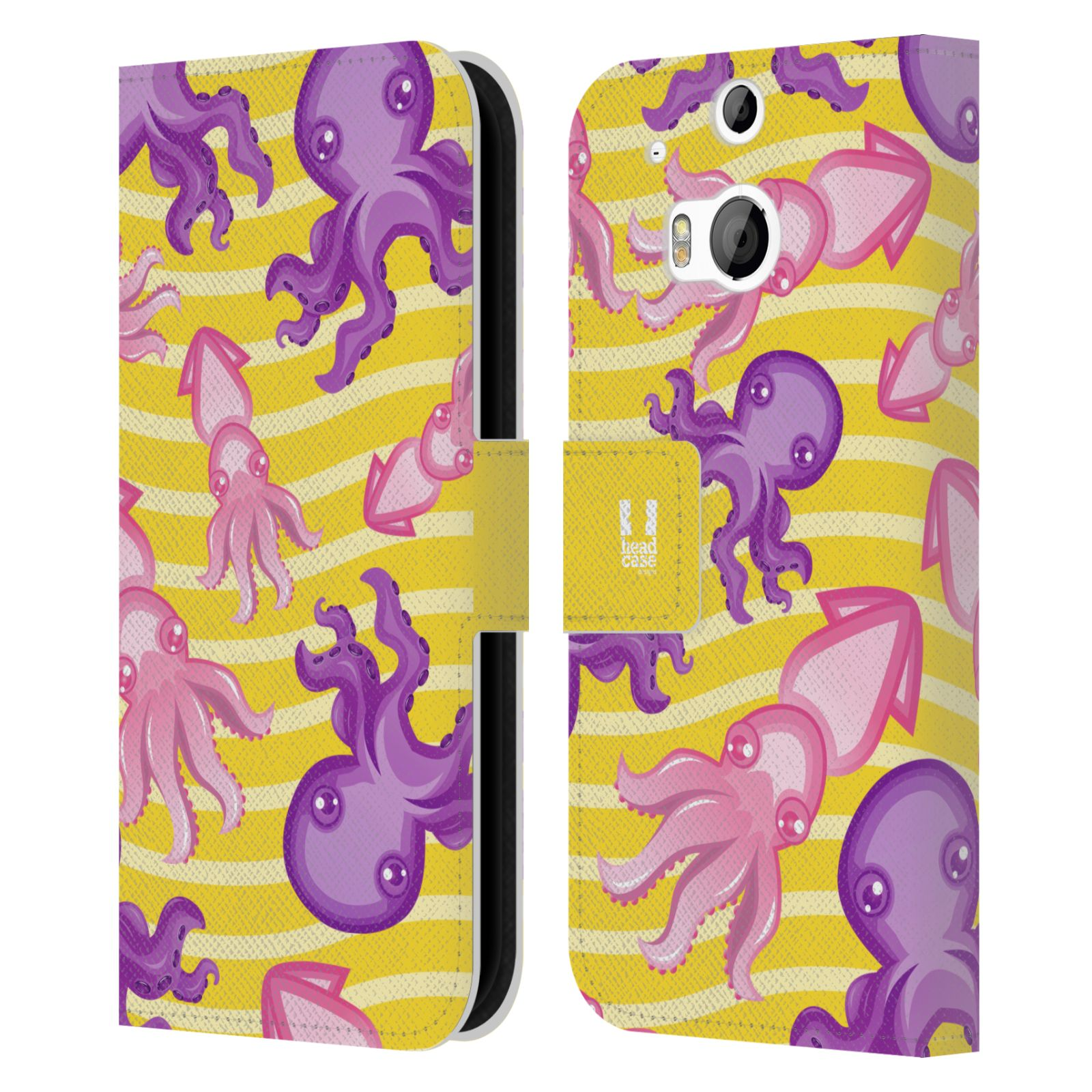 HEAD CASE Flipové pouzdro pro mobil HTC ONE (M8, M8s) Mořský živočich chobotnice a krakatice žlutá barva