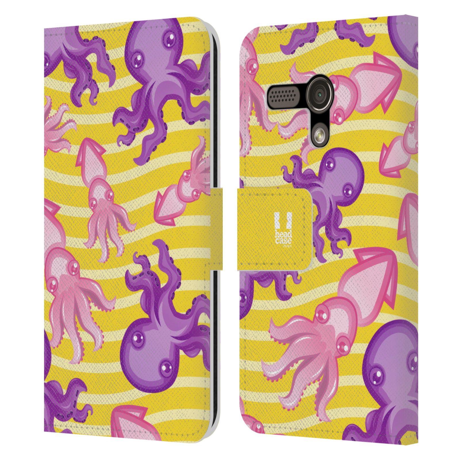 HEAD CASE Flipové pouzdro pro mobil MOTOROLA MOTO G Mořský živočich chobotnice a krakatice žlutá barva