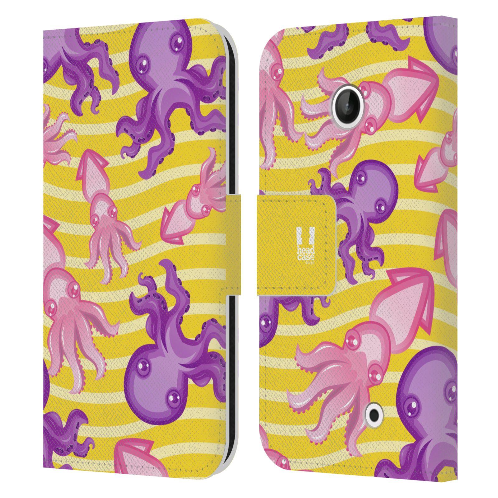 HEAD CASE Flipové pouzdro pro mobil NOKIA LUMIA 630 / LUMIA 630 DUAL Mořský živočich chobotnice a krakatice žlutá barva