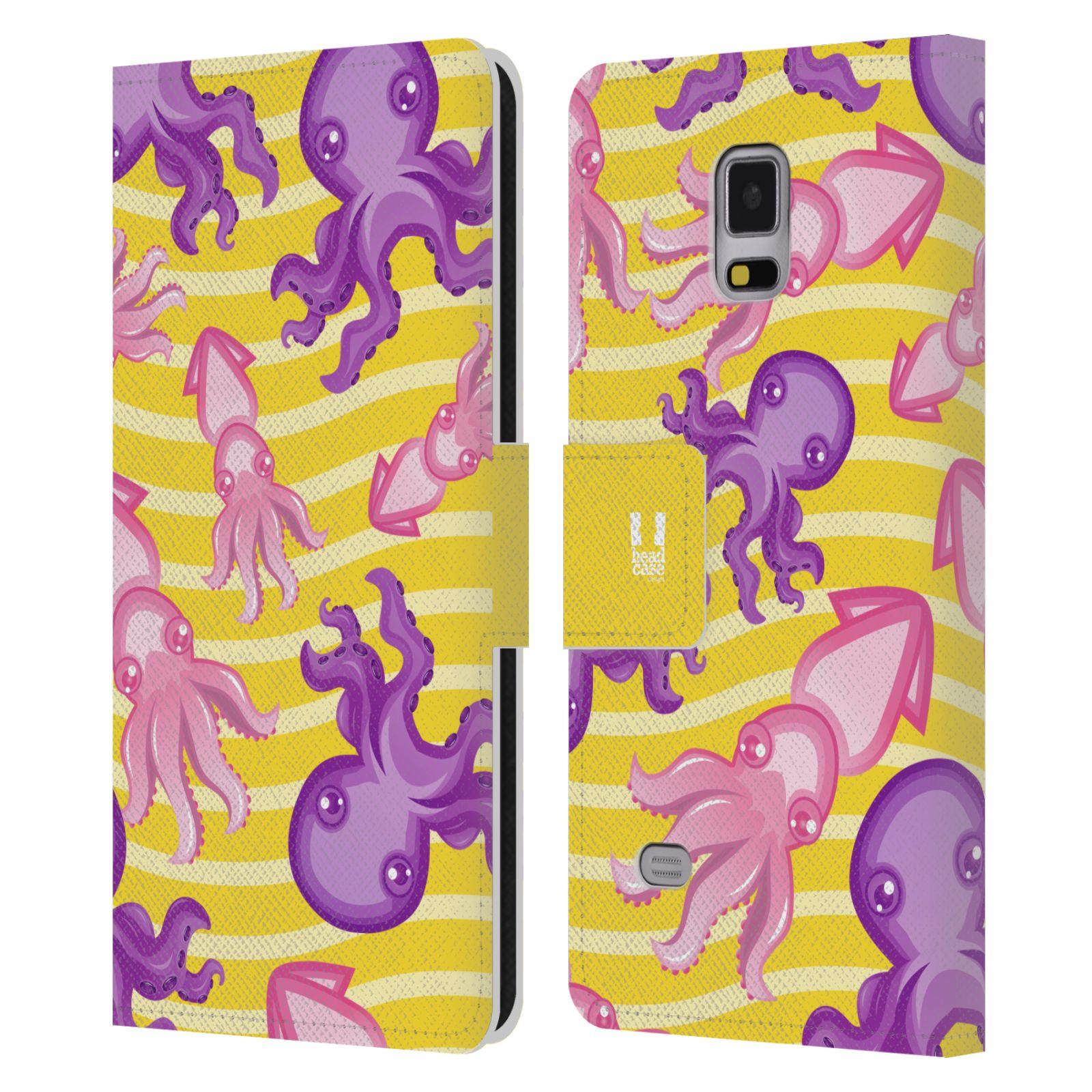 HEAD CASE Flipové pouzdro pro mobil Samsung Galaxy Note 4 Mořský živočich chobotnice a krakatice žlutá barva