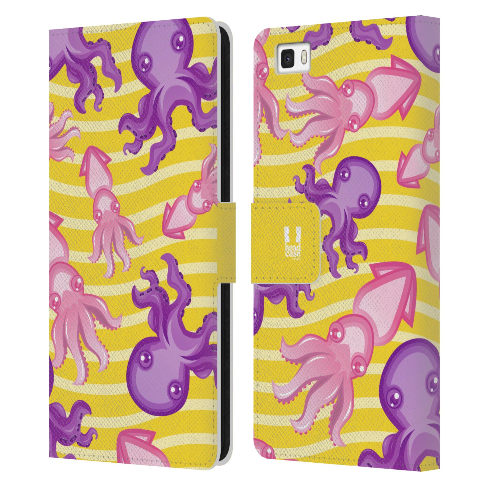 HEAD CASE Flipové pouzdro pro mobil Huawei P8 LITE Mořský živočich chobotnice a krakatice žlutá barva