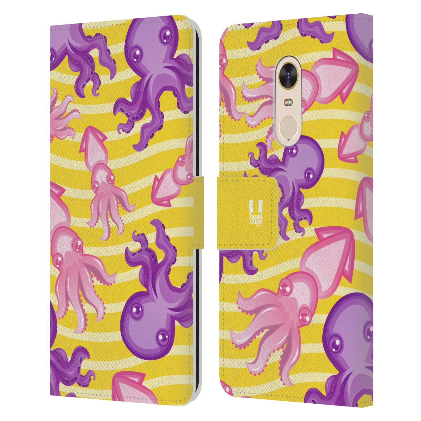 HEAD CASE Flipové pouzdro pro mobil Xiaomi Redmi 5 PLUS Mořský živočich chobotnice a krakatice žlutá barva