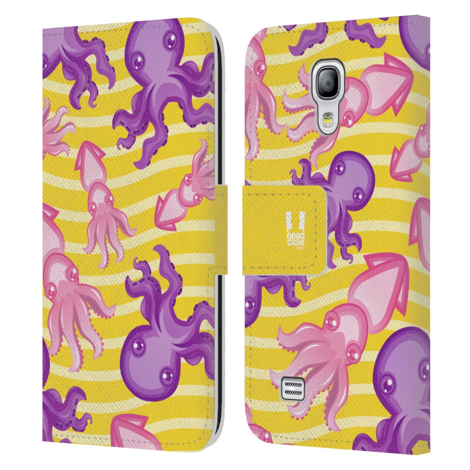 HEAD CASE Flipové pouzdro pro mobil Samsung Galaxy S4 MINI / S4 MINI DUOS Mořský živočich chobotnice a krakatice žlutá barva