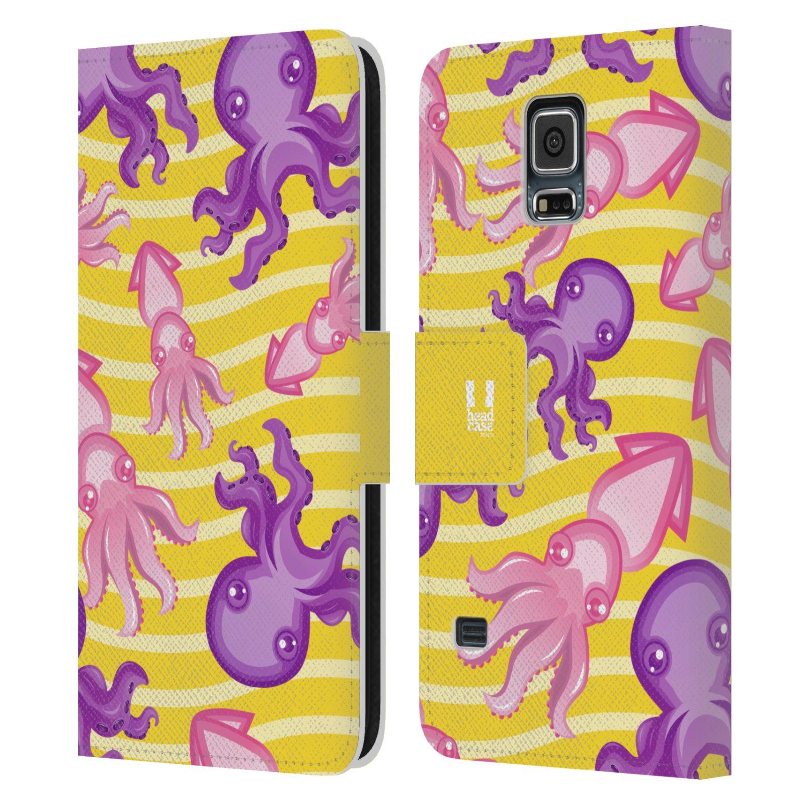 HEAD CASE Flipové pouzdro pro mobil Samsung Galaxy S5 / S5 NEO Mořský živočich chobotnice a krakatice žlutá barva