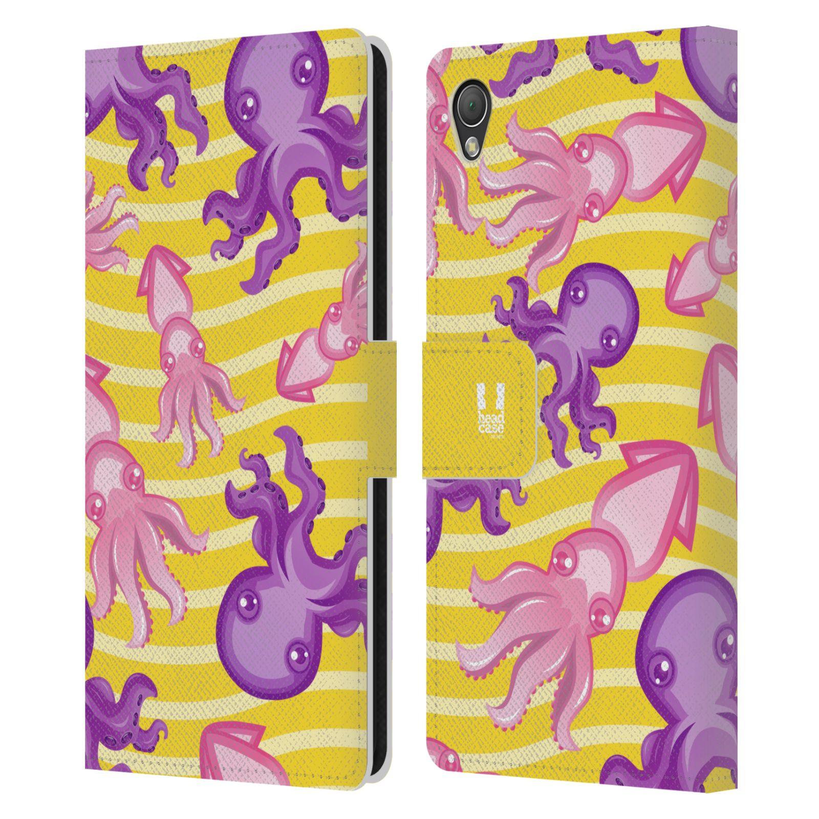 HEAD CASE Flipové pouzdro pro mobil SONY XPERIA Z3 Mořský živočich chobotnice a krakatice žlutá barva