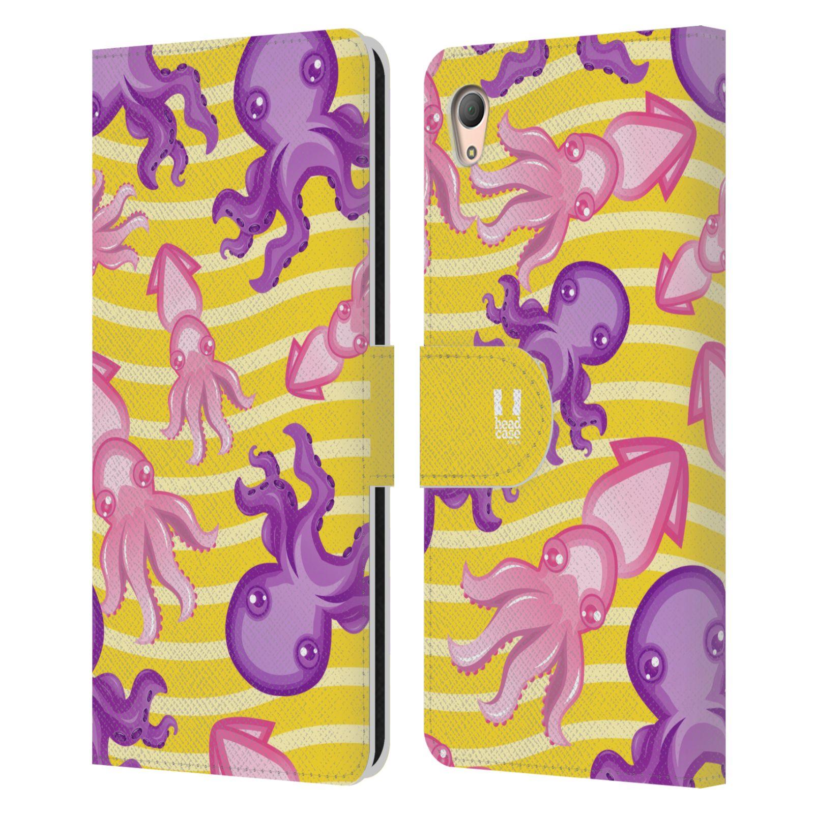 HEAD CASE Flipové pouzdro pro mobil SONY XPERIA Z3+ (PLUS) Mořský živočich chobotnice a krakatice žlutá barva