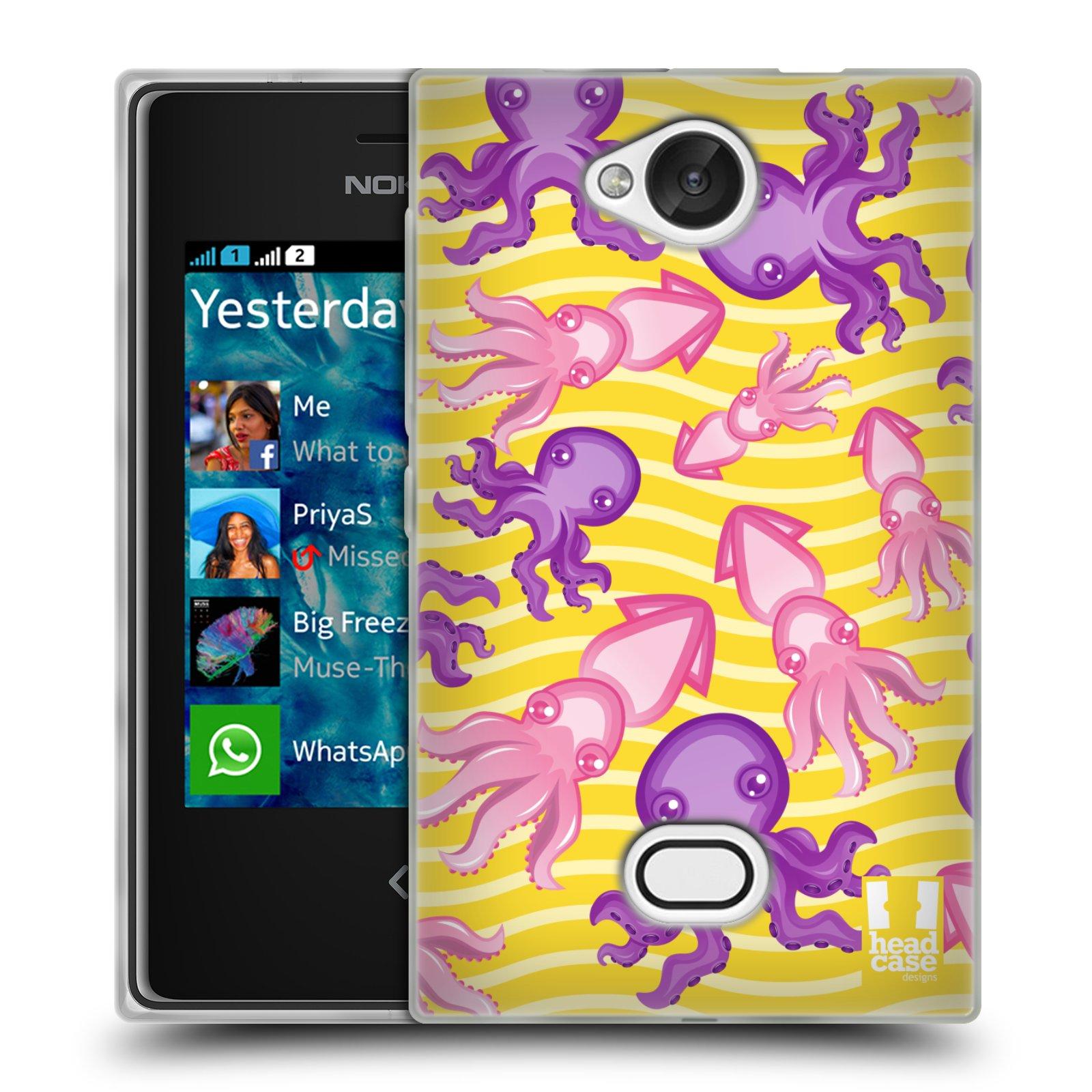 HEAD CASE silikonový obal na mobil NOKIA Asha 503 vzor mořský živočich chobotnice