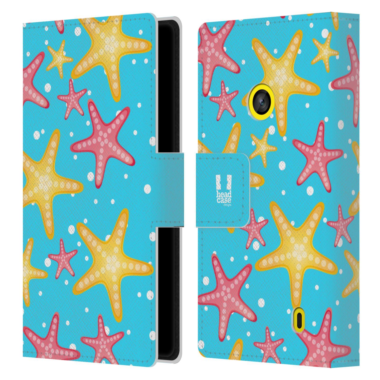 HEAD CASE Flipové pouzdro pro mobil NOKIA LUMIA 520 / 525 Mořský živočich hvězdice modrá barva pozadí