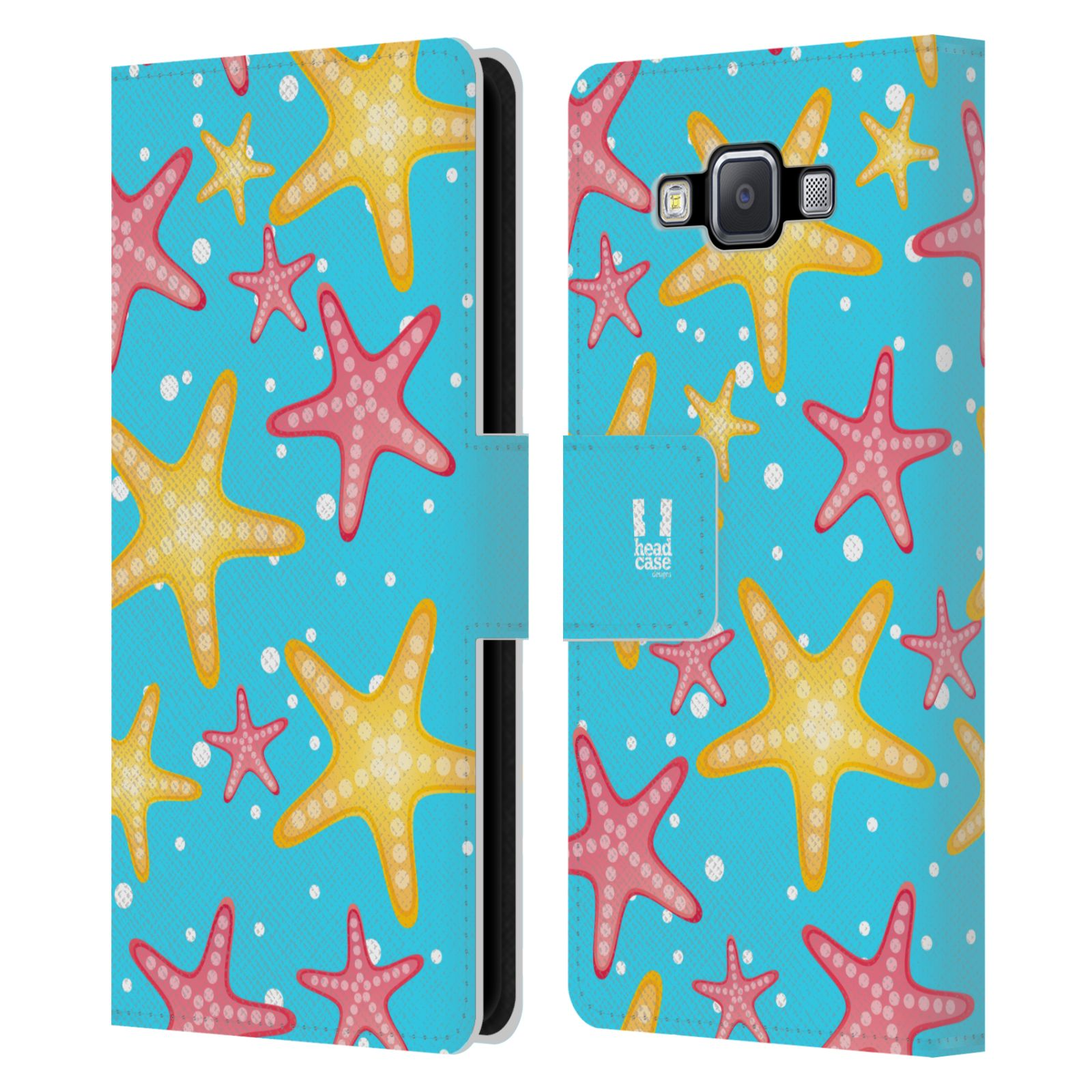 HEAD CASE Flipové pouzdro pro mobil Samsung Galaxy A5 Mořský živočich hvězdice modrá barva pozadí