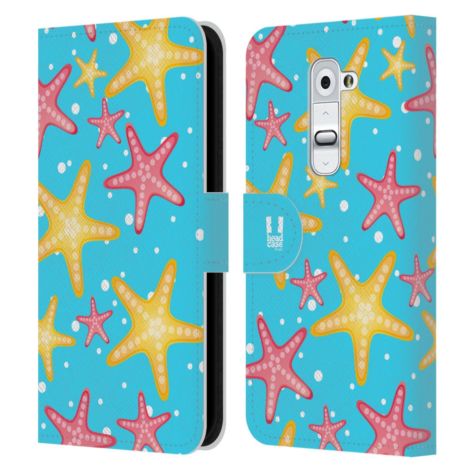 HEAD CASE Flipové pouzdro pro mobil LG G2 (D802) Mořský živočich hvězdice modrá barva pozadí