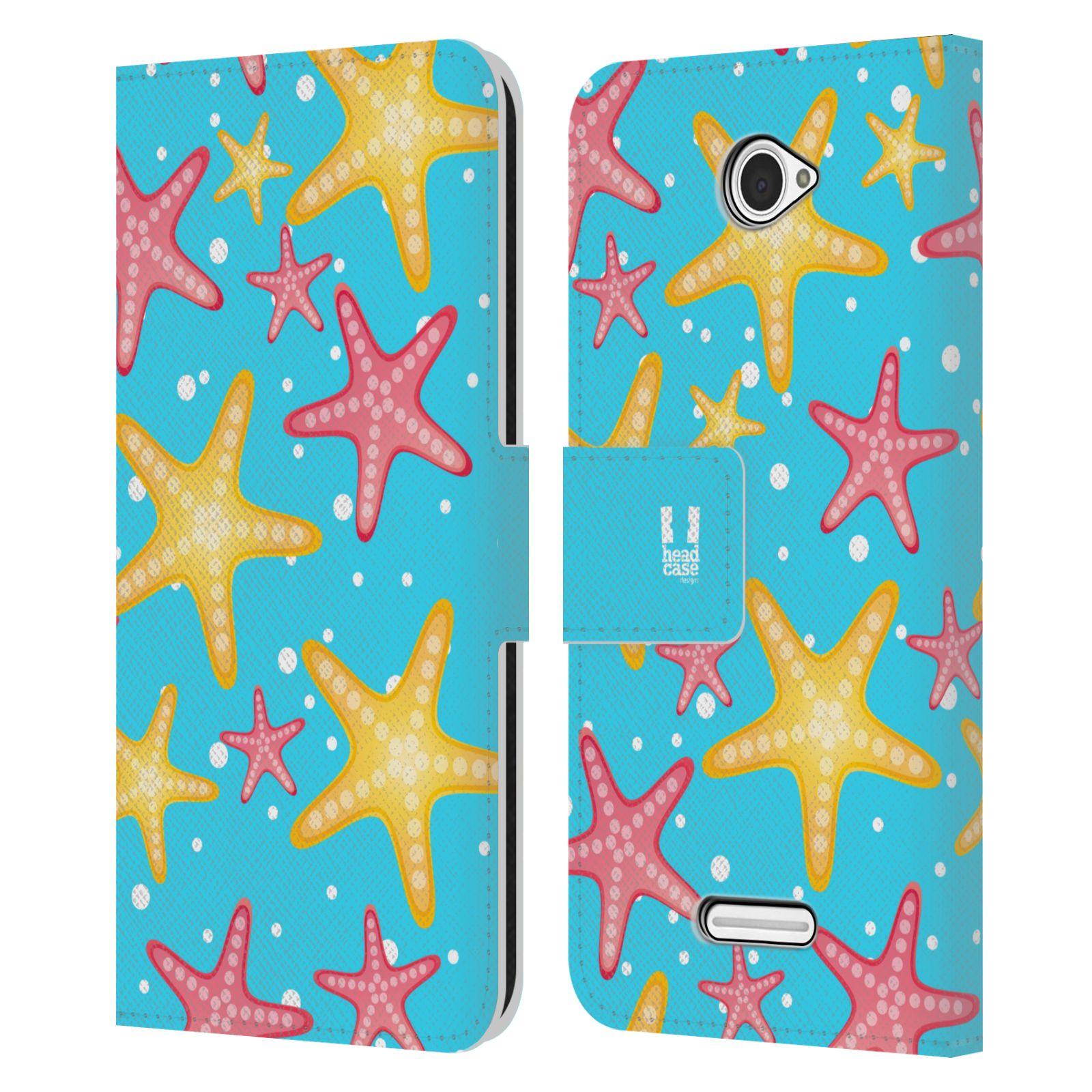 HEAD CASE Flipové pouzdro pro mobil SONY XPERIA E4 Mořský živočich hvězdice modrá barva pozadí