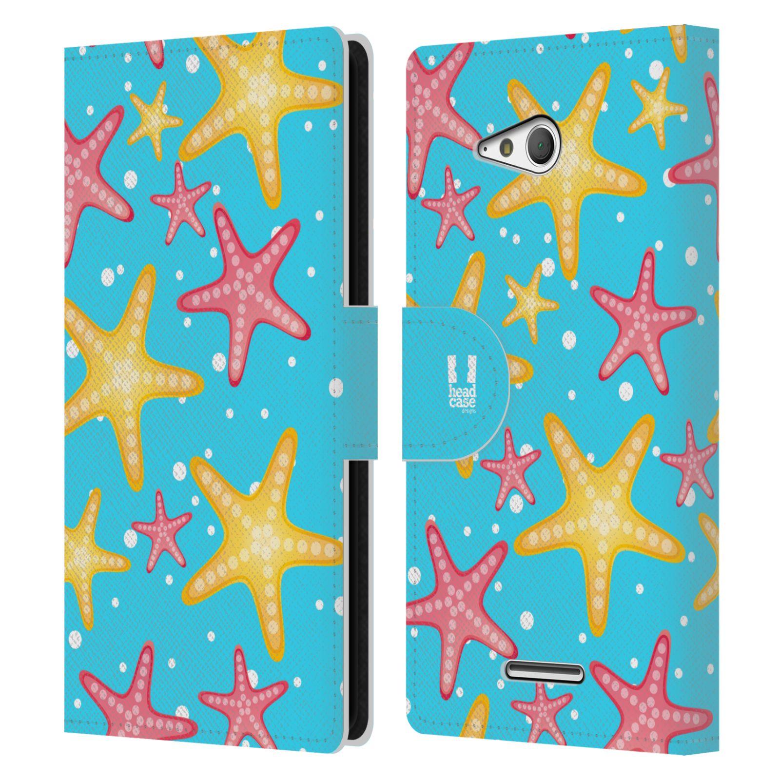 HEAD CASE Flipové pouzdro pro mobil SONY XPERIA E4g Mořský živočich hvězdice modrá barva pozadí