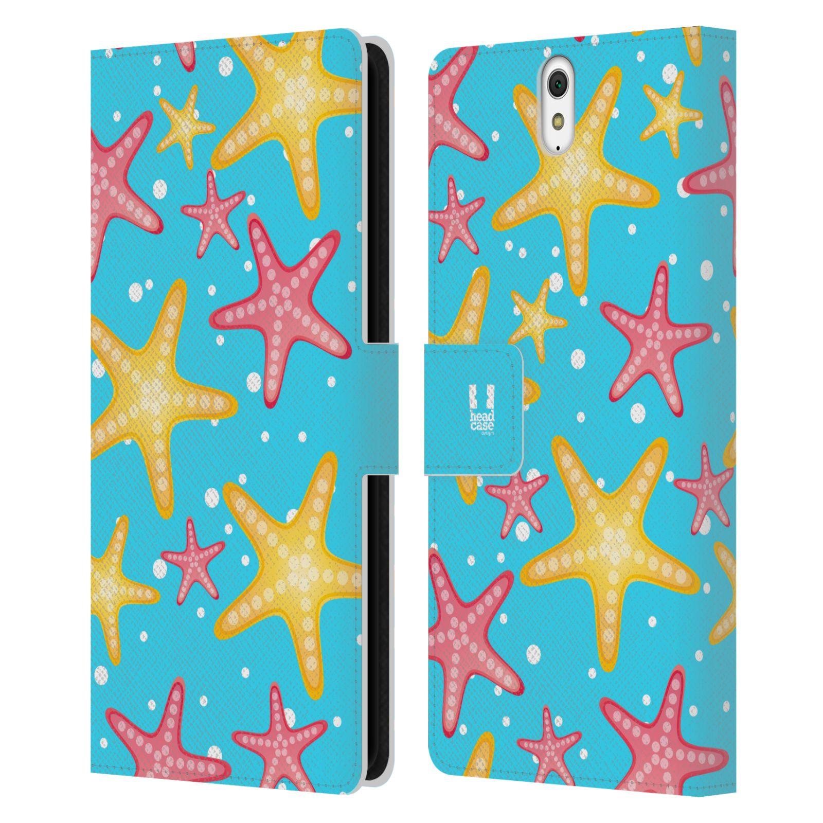 HEAD CASE Flipové pouzdro pro mobil SONY XPERIA C5 Ultra Mořský živočich hvězdice modrá barva pozadí