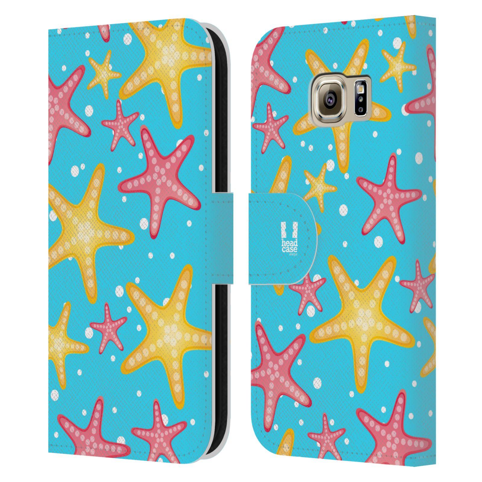 HEAD CASE Flipové pouzdro pro mobil Samsung Galaxy S6 (G9200) Mořský živočich hvězdice modrá barva pozadí