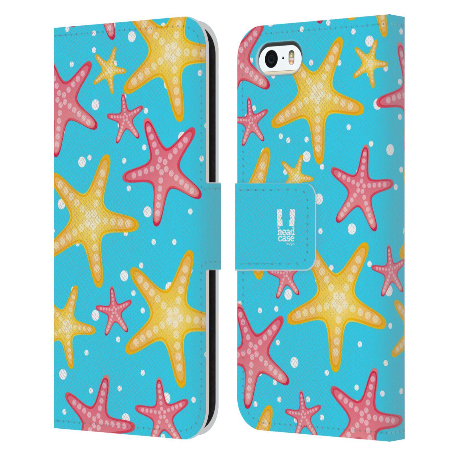 HEAD CASE Flipové pouzdro pro mobil Apple Iphone 5/5s Mořský živočich hvězdice modrá barva pozadí