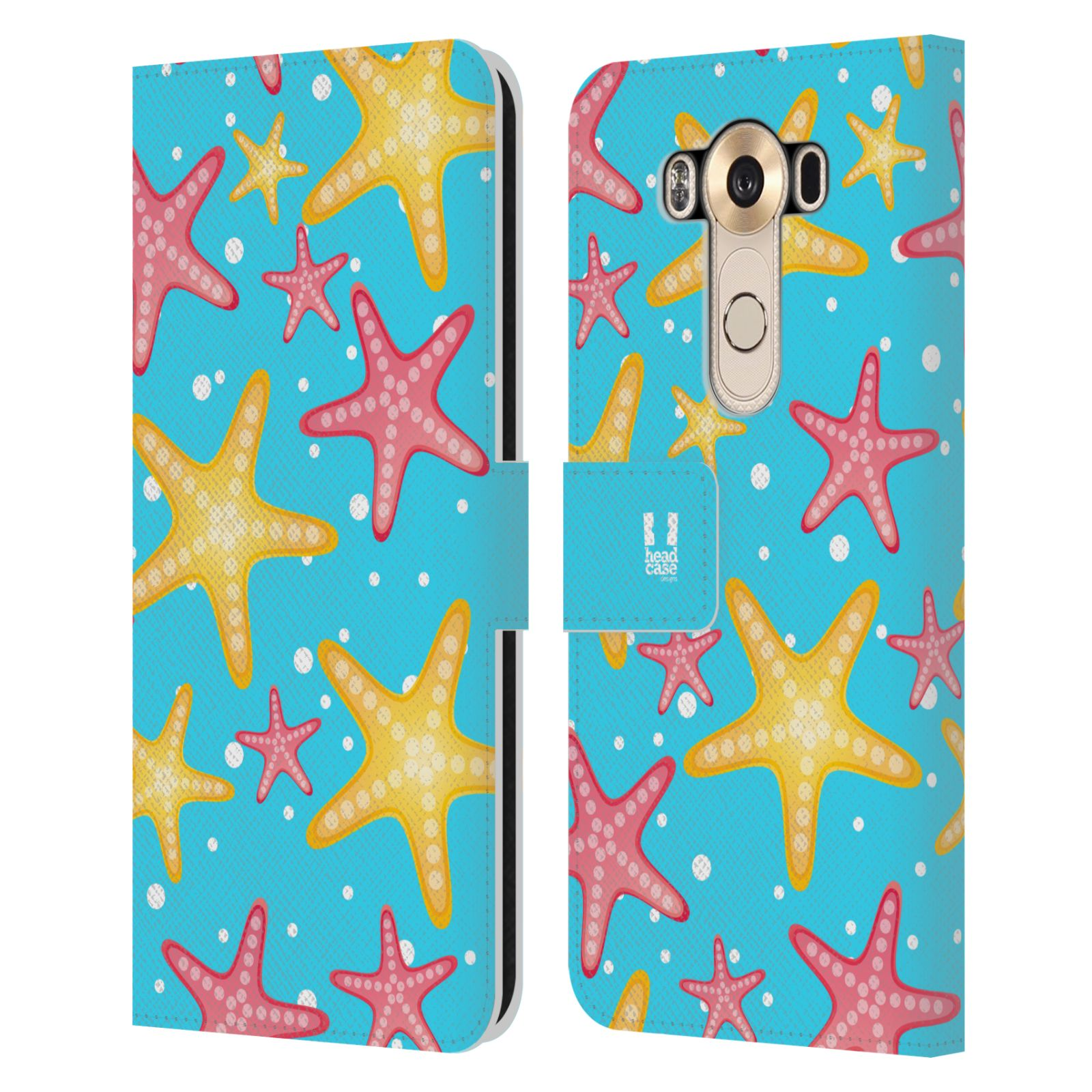HEAD CASE Flipové pouzdro pro mobil LG V10 Mořský živočich hvězdice modrá barva pozadí