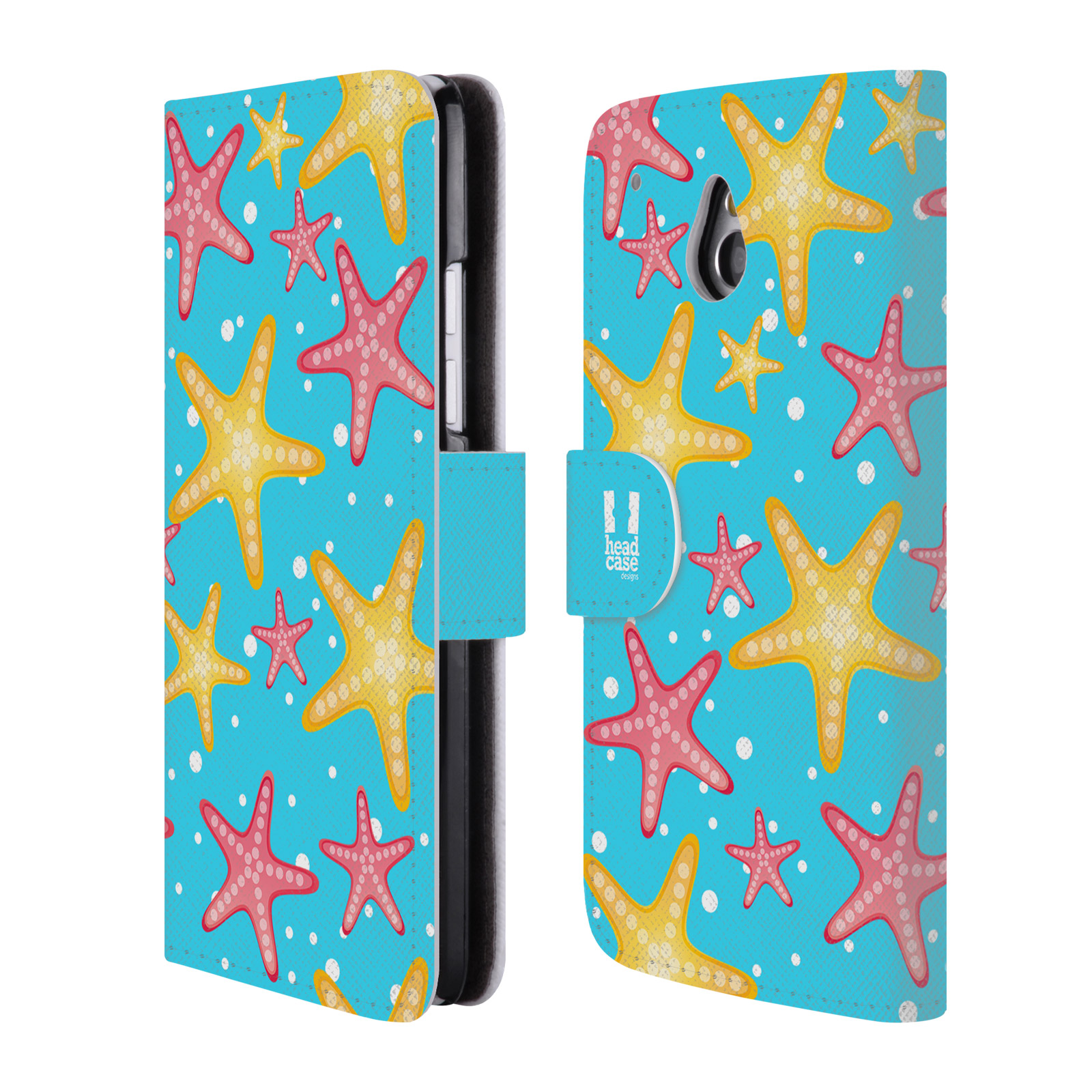 HEAD CASE Flipové pouzdro pro mobil HTC ONE MINI (M4) Mořský živočich hvězdice modrá barva pozadí