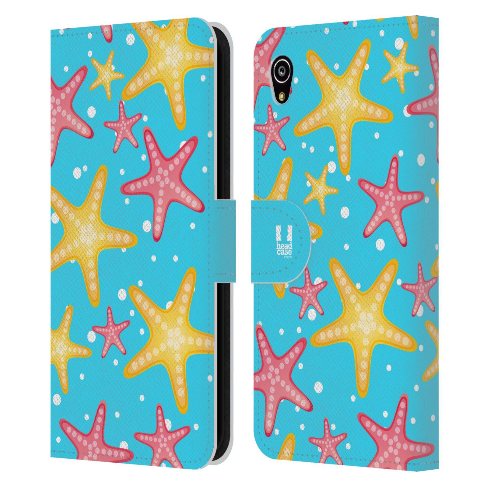 HEAD CASE Flipové pouzdro pro mobil SONY XPERIA M4 AQUA Mořský živočich hvězdice modrá barva pozadí