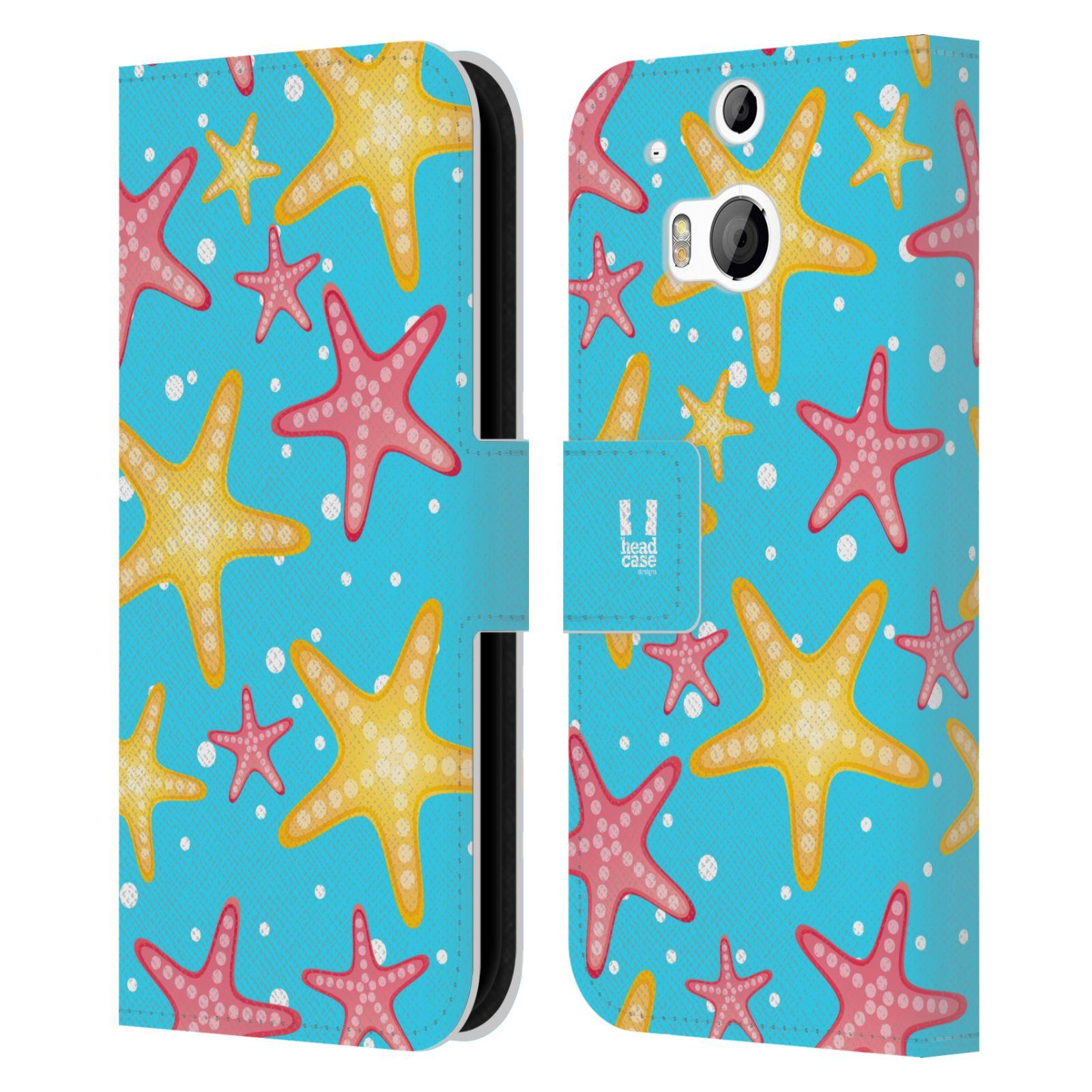 HEAD CASE Flipové pouzdro pro mobil HTC ONE (M8, M8s) Mořský živočich hvězdice modrá barva pozadí
