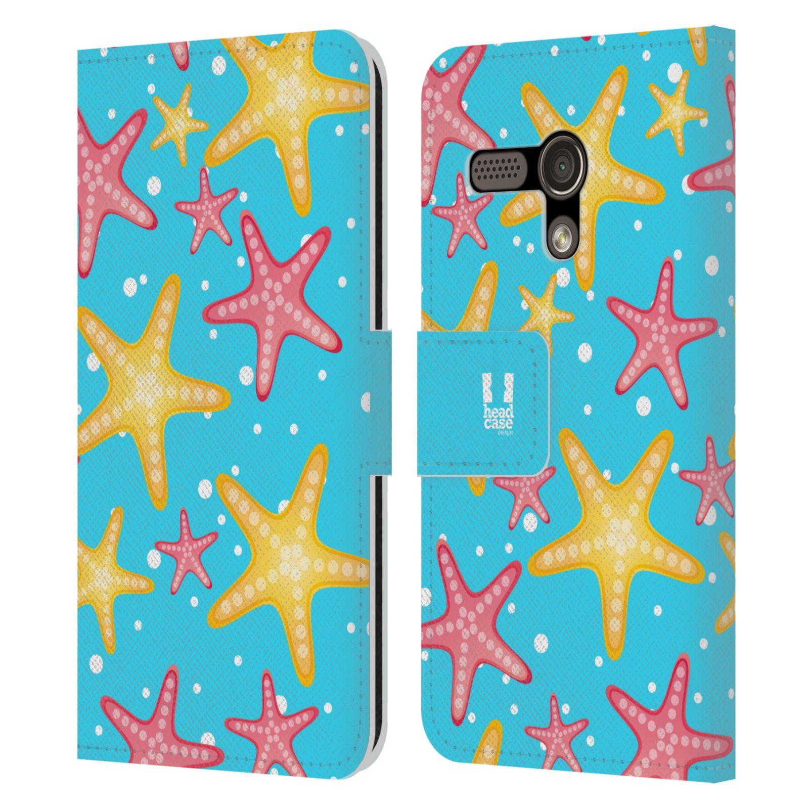 HEAD CASE Flipové pouzdro pro mobil MOTOROLA MOTO G Mořský živočich hvězdice modrá barva pozadí