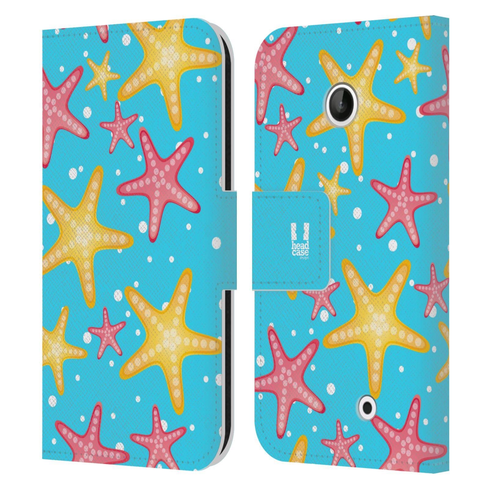 HEAD CASE Flipové pouzdro pro mobil NOKIA LUMIA 630 / LUMIA 630 DUAL Mořský živočich hvězdice modrá barva pozadí