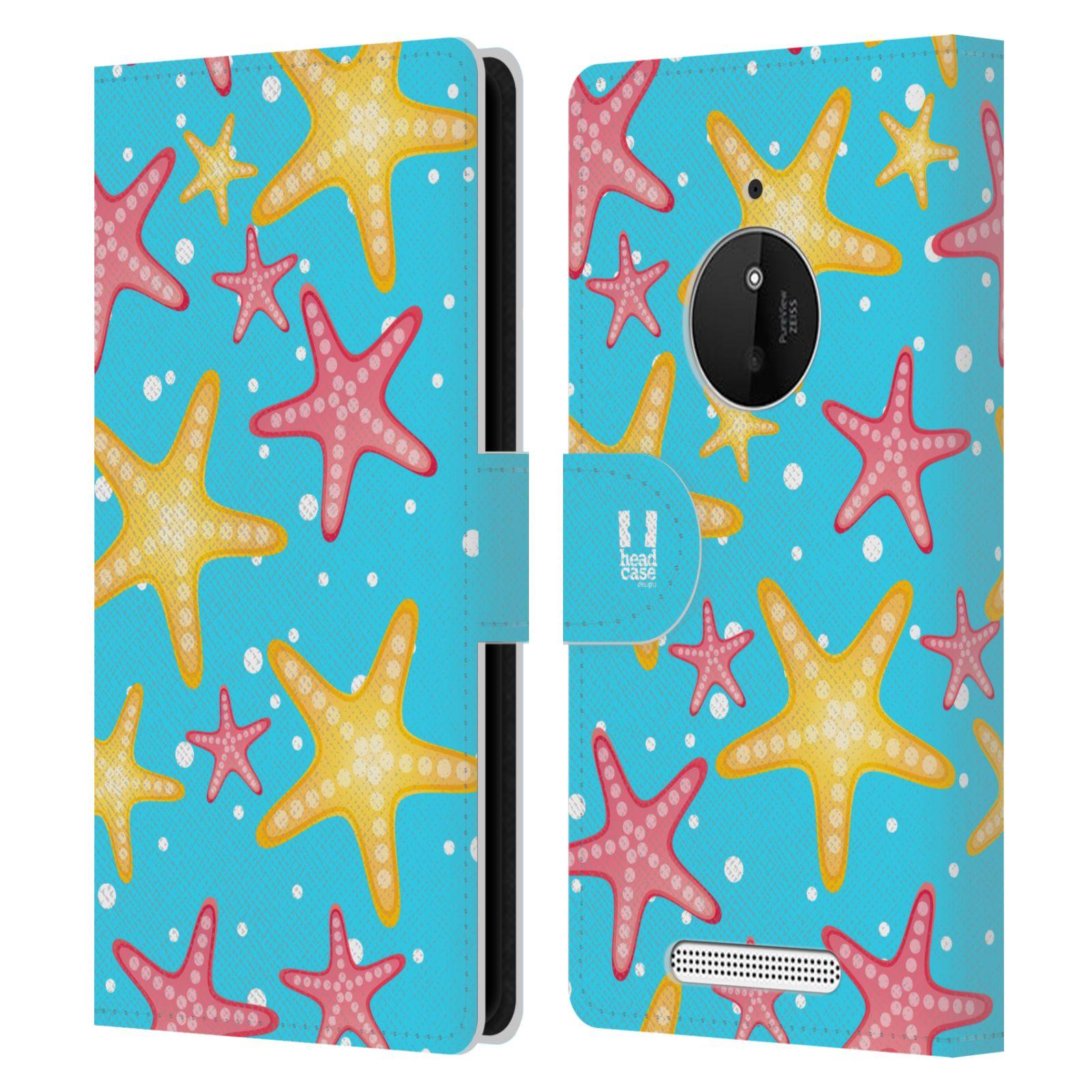 HEAD CASE Flipové pouzdro pro mobil NOKIA LUMIA 830 Mořský živočich hvězdice modrá barva pozadí