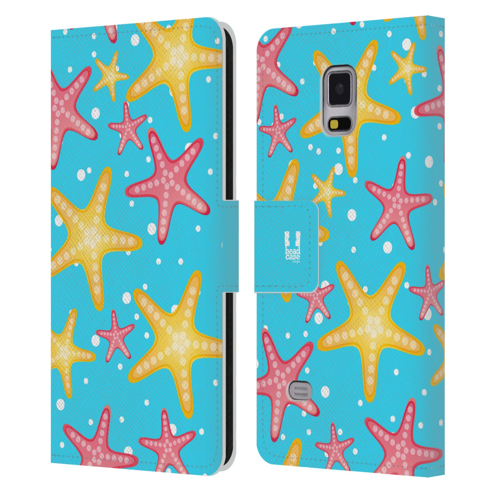HEAD CASE Flipové pouzdro pro mobil Samsung Galaxy Note 4 Mořský živočich hvězdice modrá barva pozadí