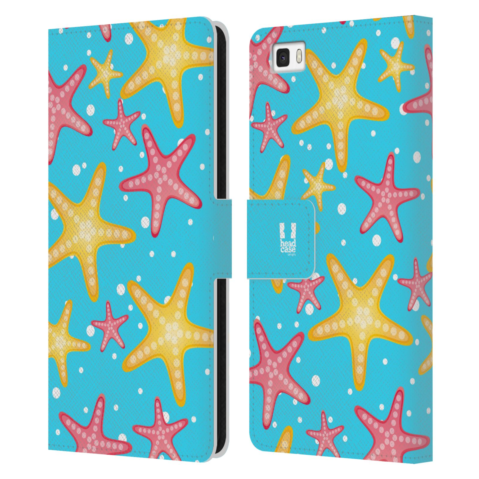 HEAD CASE Flipové pouzdro pro mobil Huawei P8 LITE Mořský živočich hvězdice modrá barva pozadí
