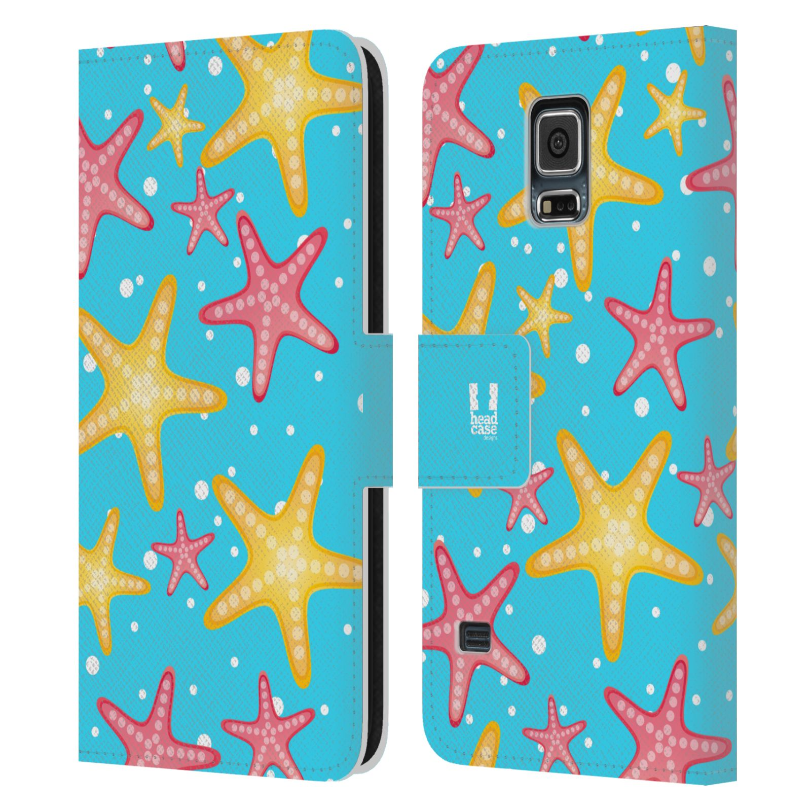 HEAD CASE Flipové pouzdro pro mobil Samsung Galaxy S5 / S5 NEO Mořský živočich hvězdice modrá barva pozadí