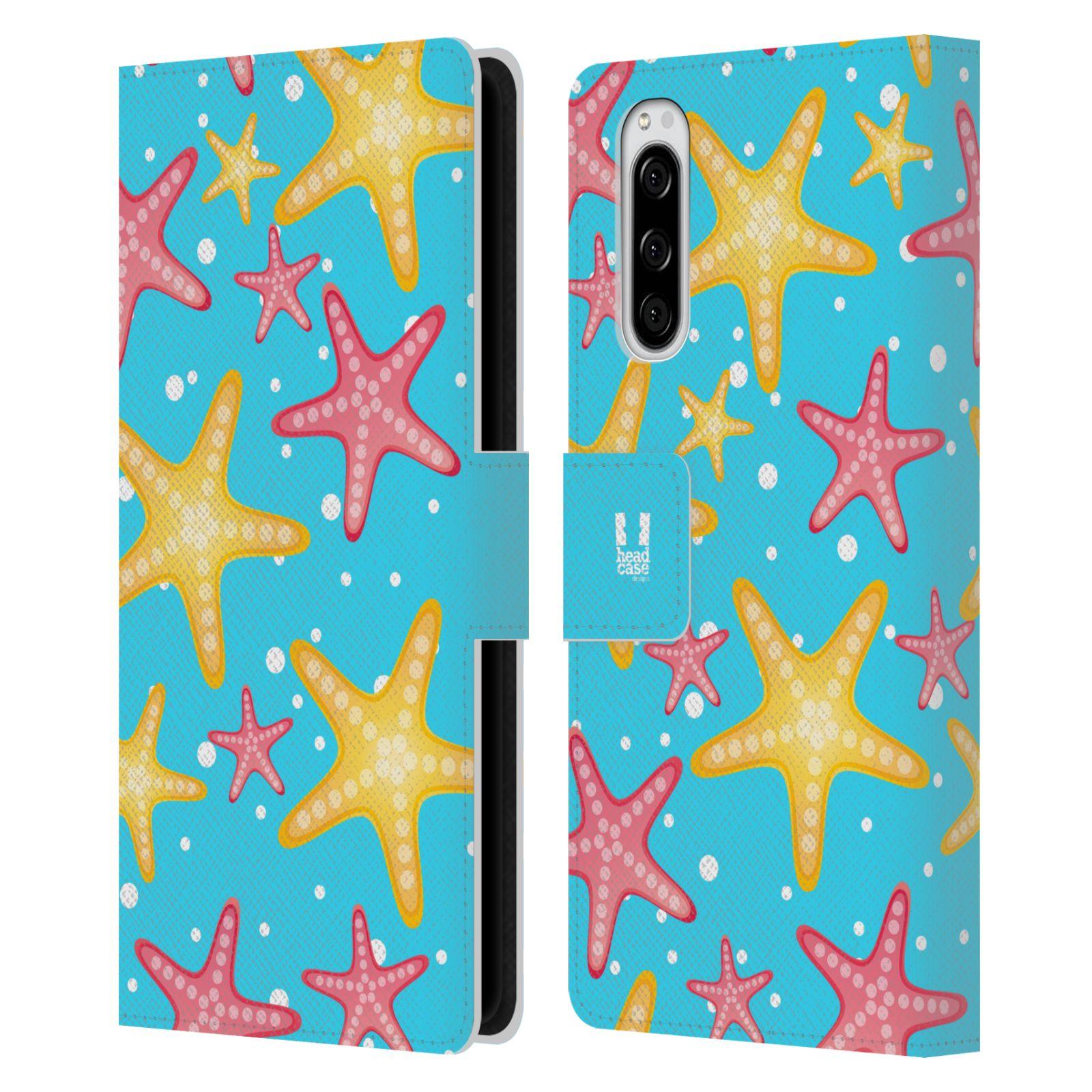 Pouzdro na mobil Sony Xperia 5 Mořský živočich hvězdice modrá barva pozadí