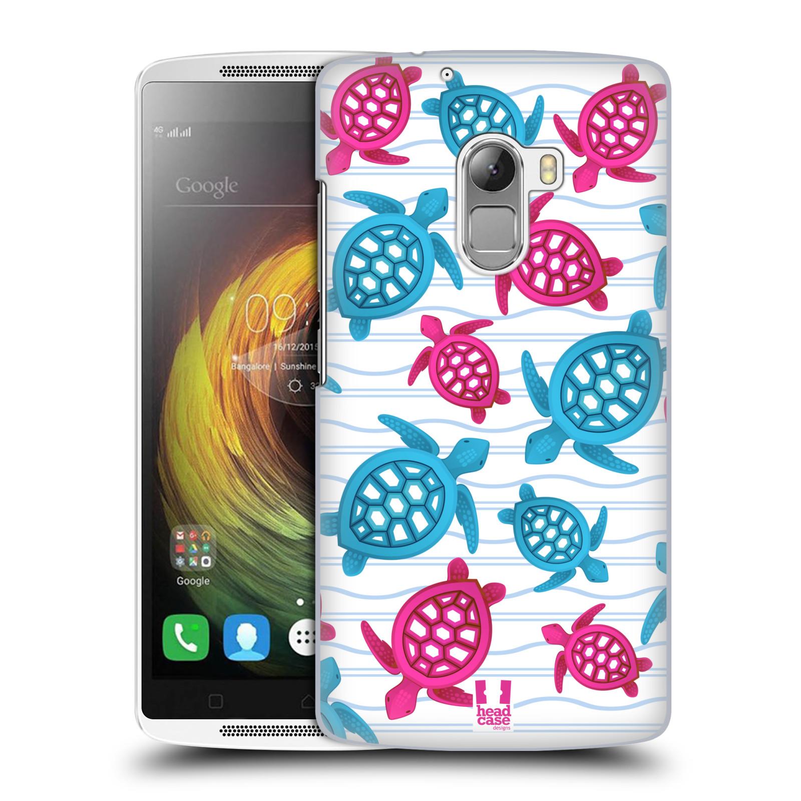 HEAD CASE pevný plastový obal na mobil LENOVO A7010 / A7010 DUAL / K4 Note / Vibe X3 lite vzor mořský živočich želva modrá a růžová