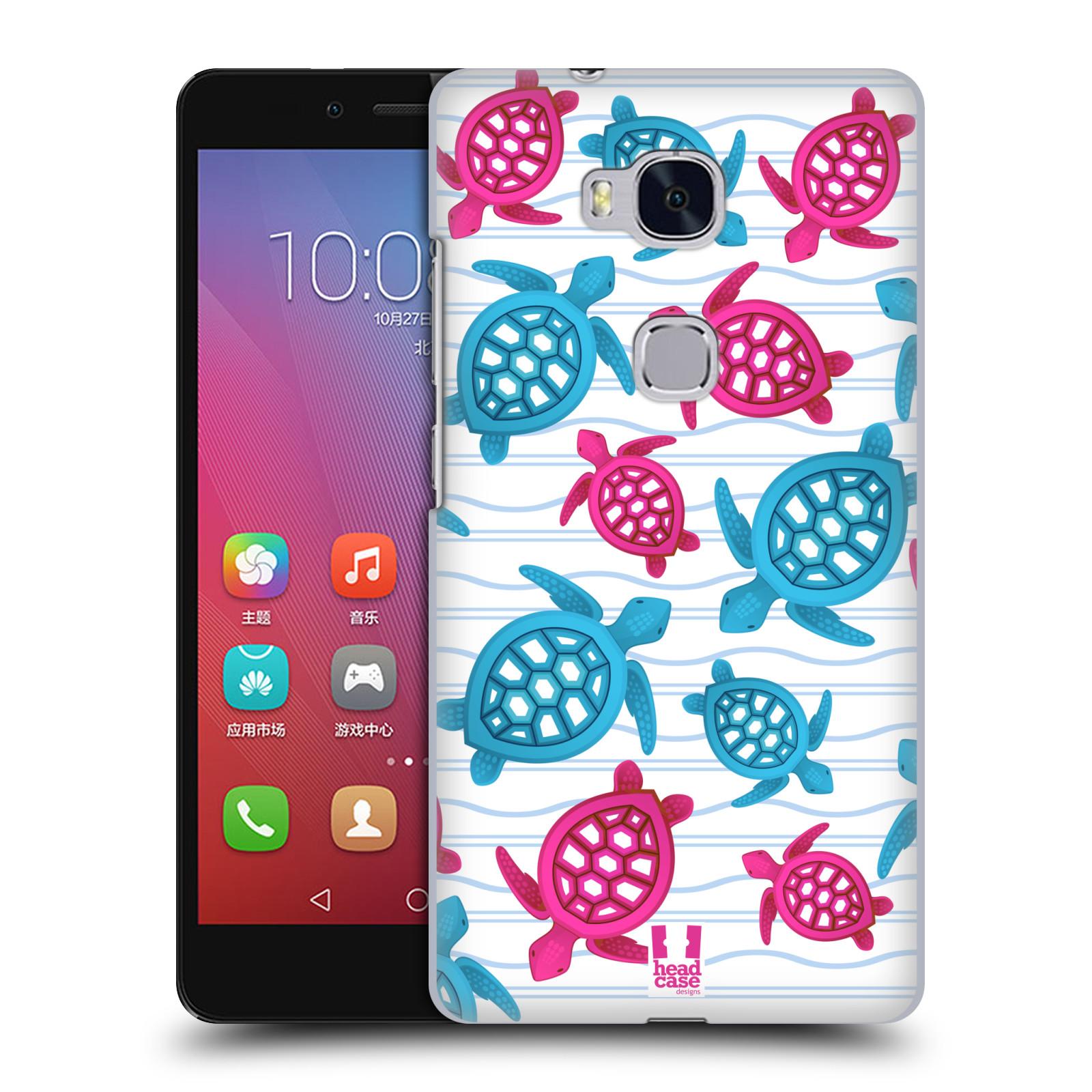 HEAD CASE pevný plastový obal na mobil HUAWEI HONOR 5X vzor mořský živočich želva modrá a růžová