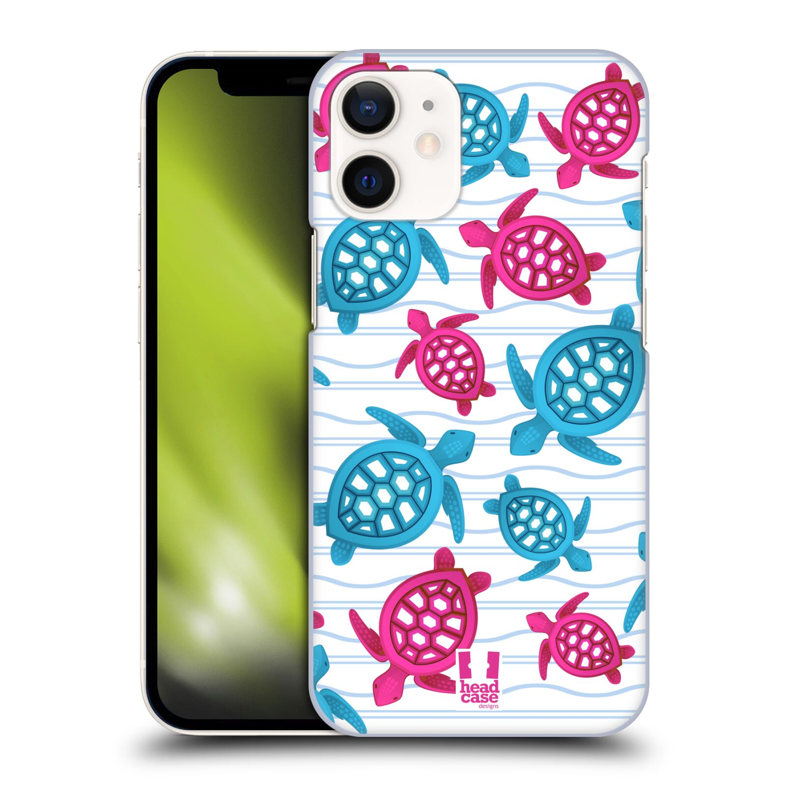 Plastový obal na mobil Apple Iphone 12 MINI vzor mořský živočich želva modrá a růžová