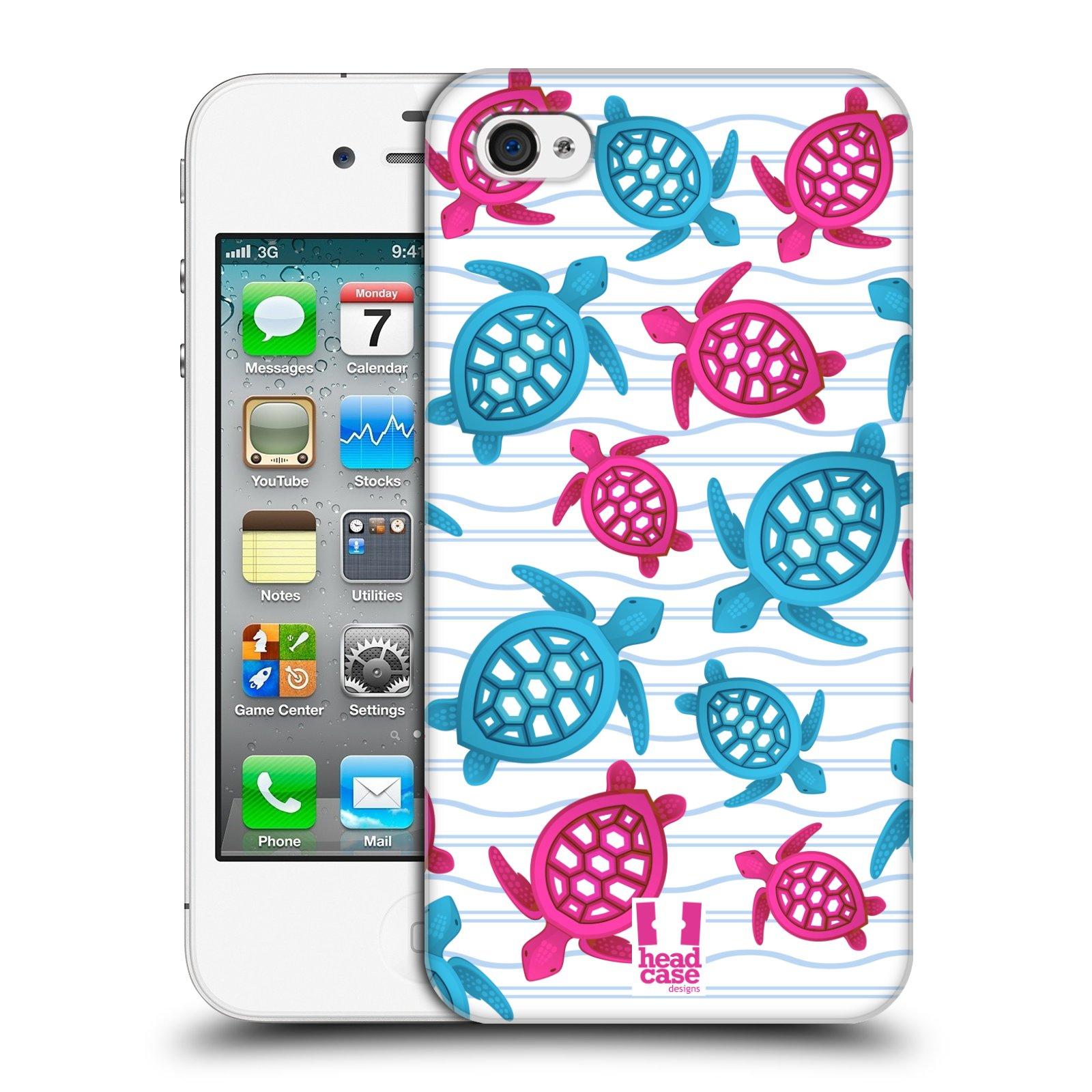 HEAD CASE plastový obal na mobil Apple Iphone 4/4S vzor mořský živočich želva modrá a růžová