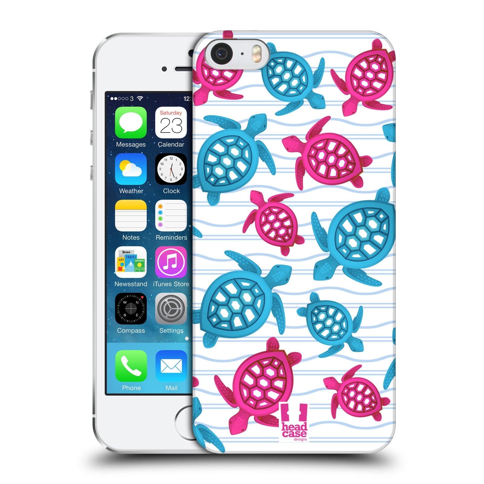 Plastové pouzdro pro mobil Apple Iphone 5 / 5S / SE vzor mořský živočich želva modrá a růžová