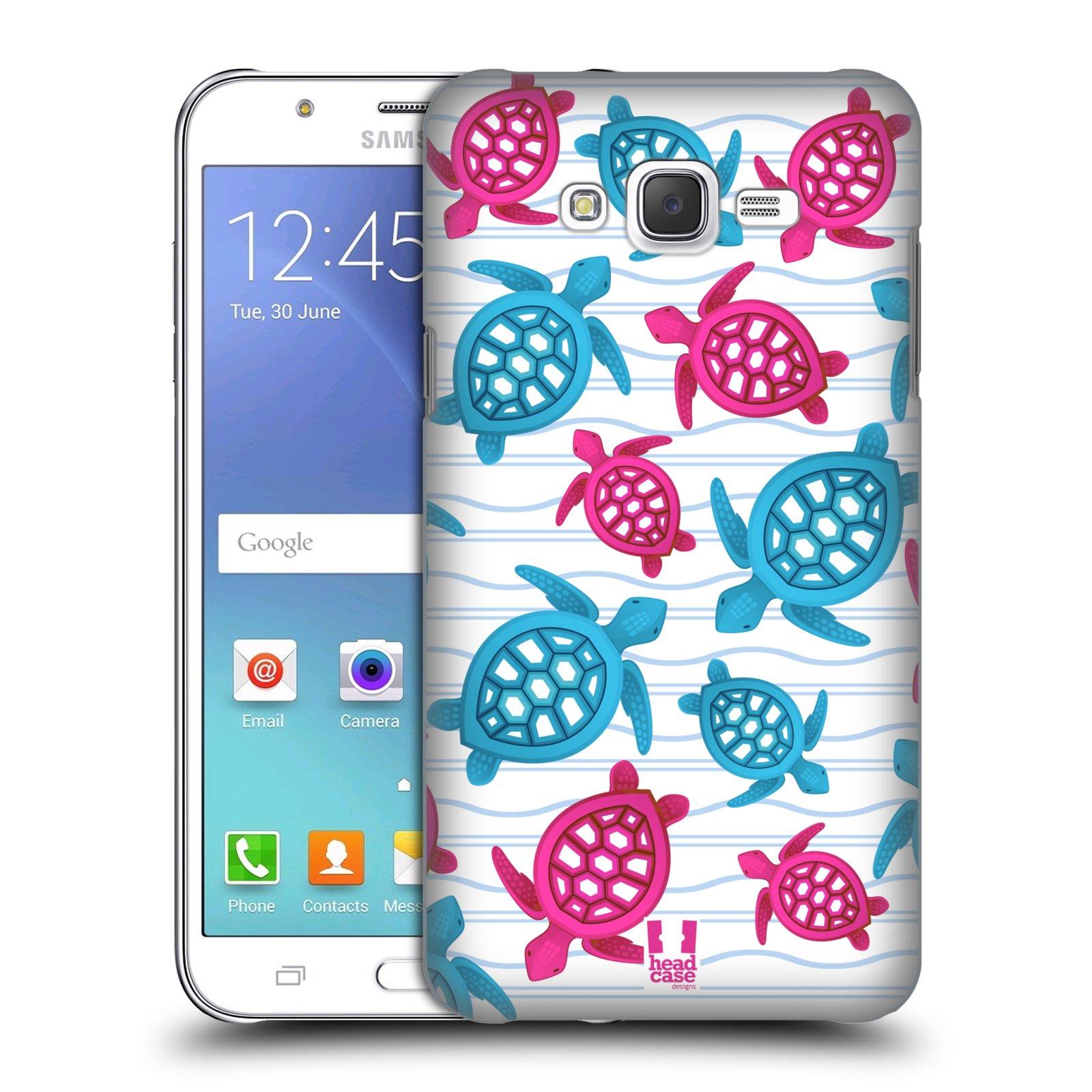HEAD CASE plastový obal na mobil SAMSUNG Galaxy J7, J700 vzor mořský živočich želva modrá a růžová
