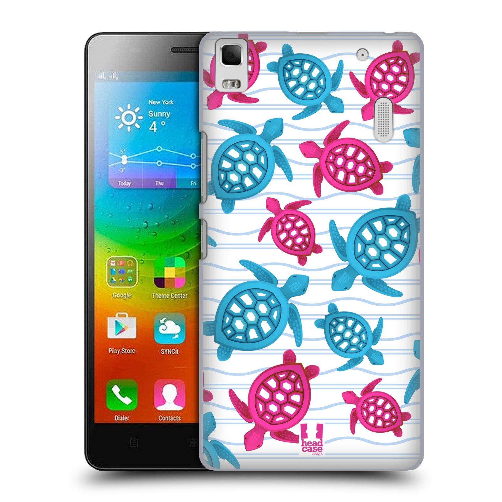 HEAD CASE pevný plastový obal na mobil LENOVO A7000 / A7000 DUAL / K3 NOTE vzor mořský živočich želva modrá a růžová