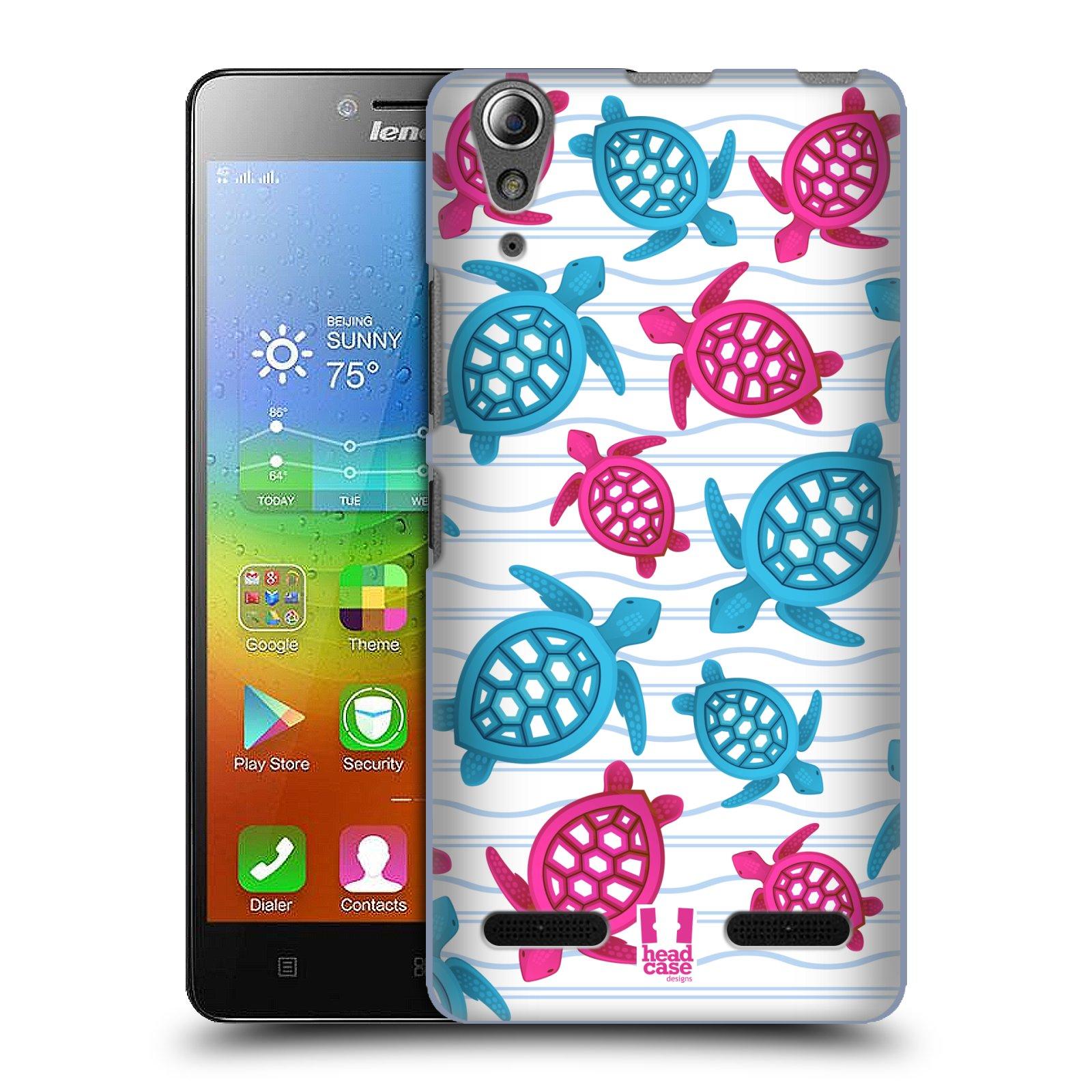 HEAD CASE pevný plastový obal na mobil LENOVO A6000 / A6000 PLUS vzor mořský živočich želva modrá a růžová