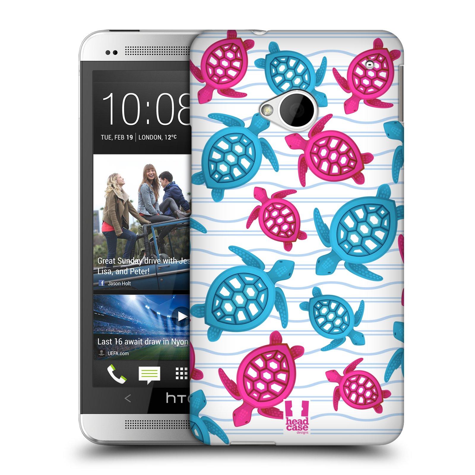 HEAD CASE plastový obal na mobil HTC One (M7) vzor mořský živočich želva modrá a růžová