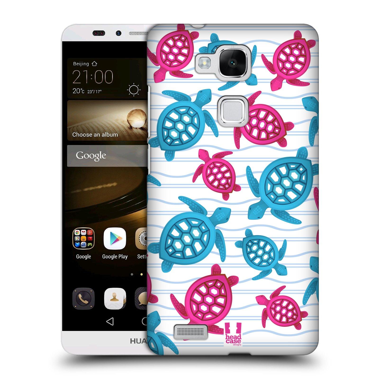 HEAD CASE plastový obal na mobil Huawei Mate 7 vzor mořský živočich želva modrá a růžová